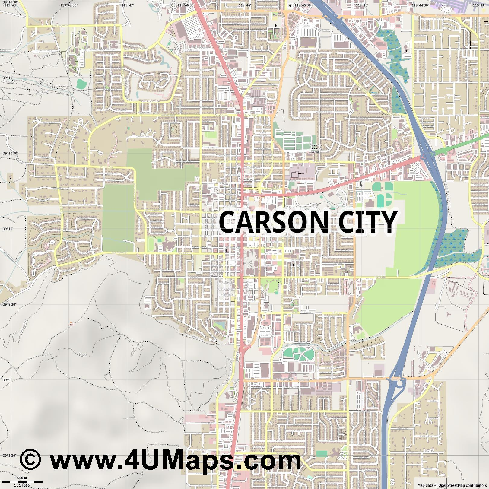 Carson City  jpg ultra high detail preview vector city map