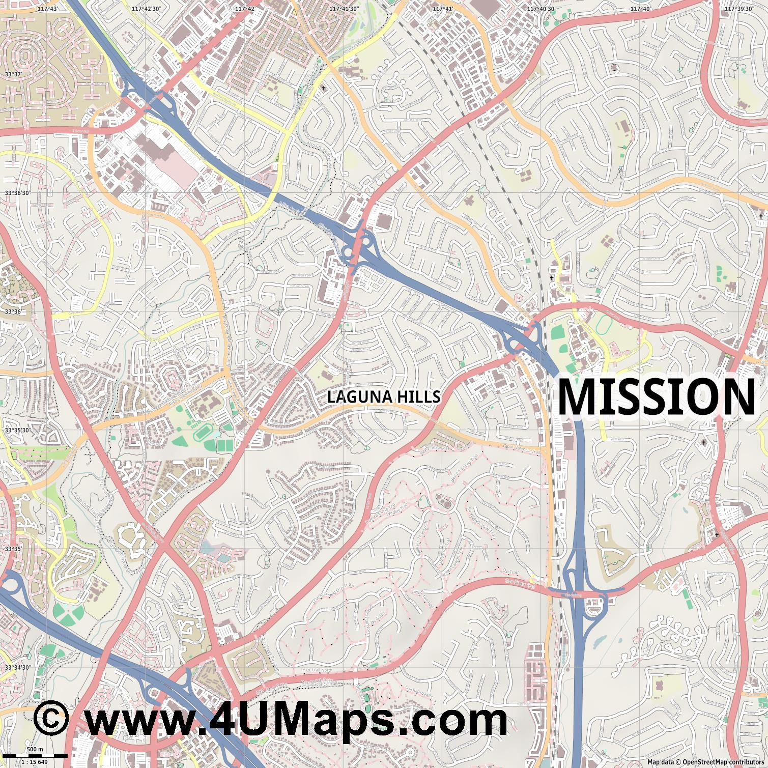 Laguna Hills  jpg ultra high detail preview vector city map