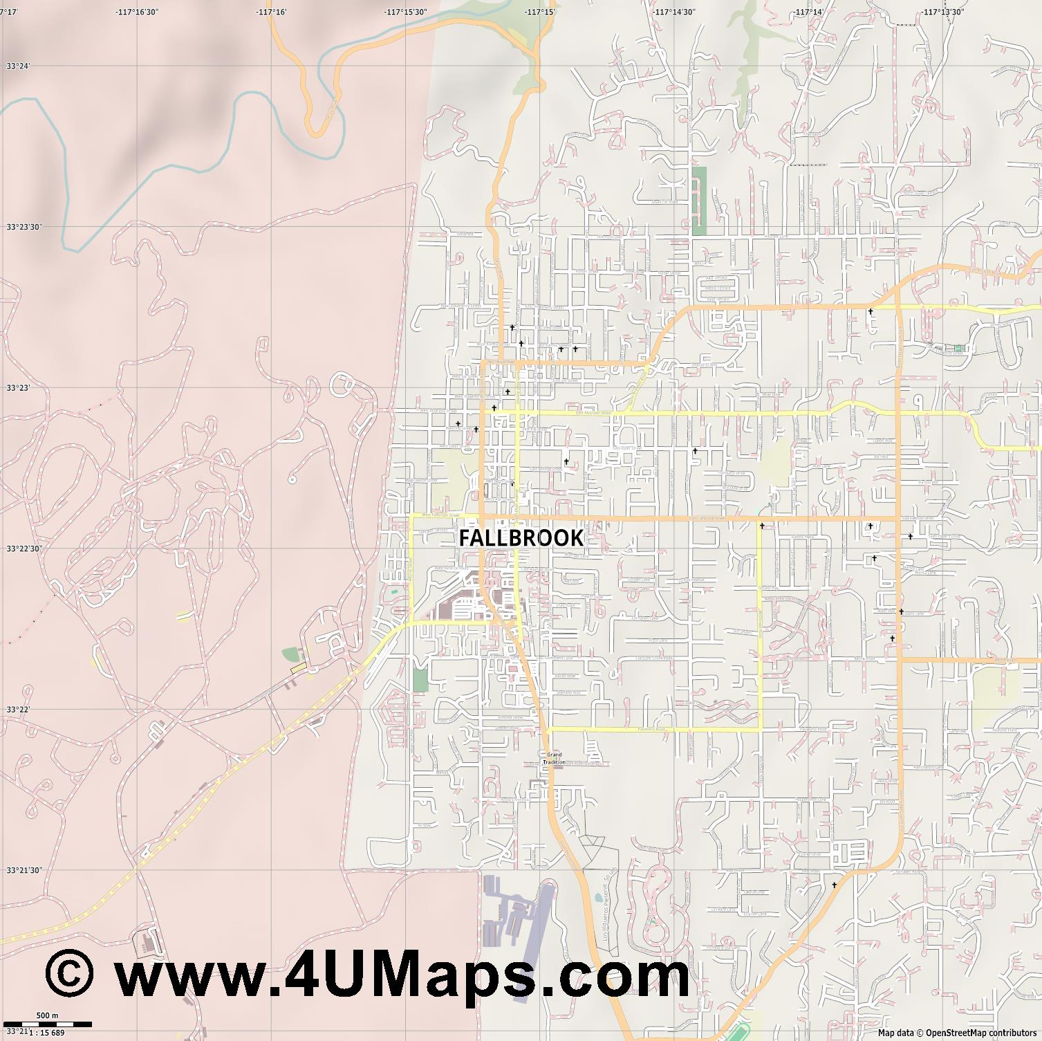 Fallbrook  jpg ultra high detail preview vector city map