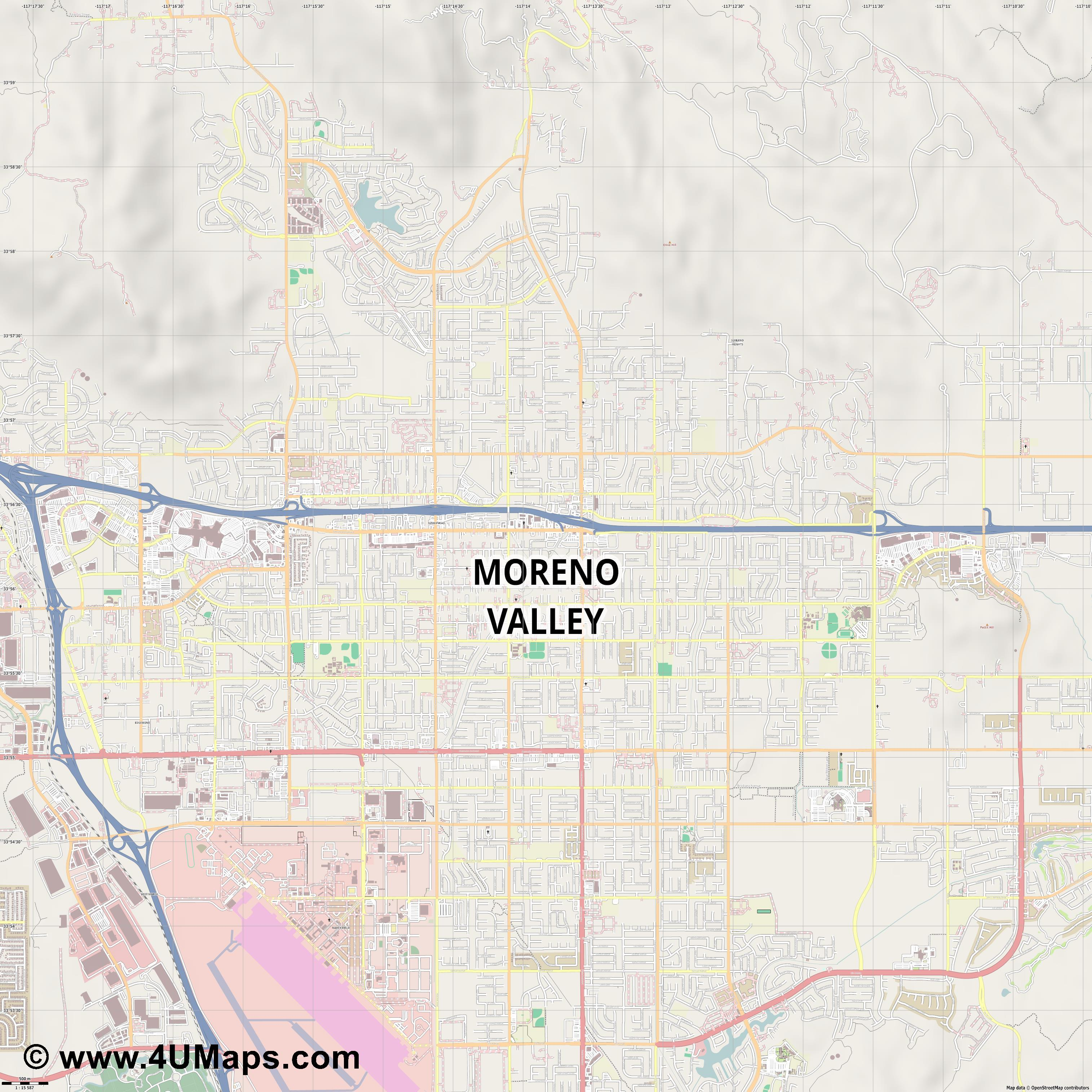 Moreno Valley  jpg ultra high detail preview vector city map