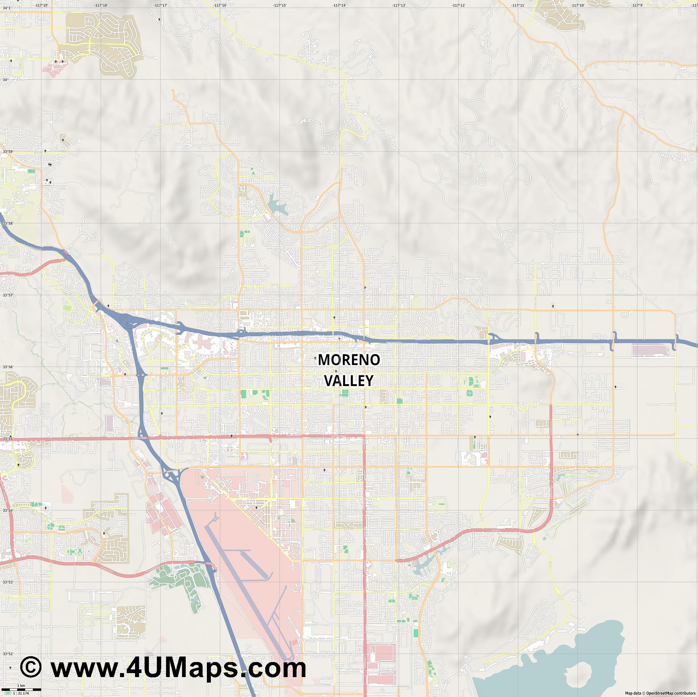 Moreno Valley  jpg high detail, large area preview vector city map
