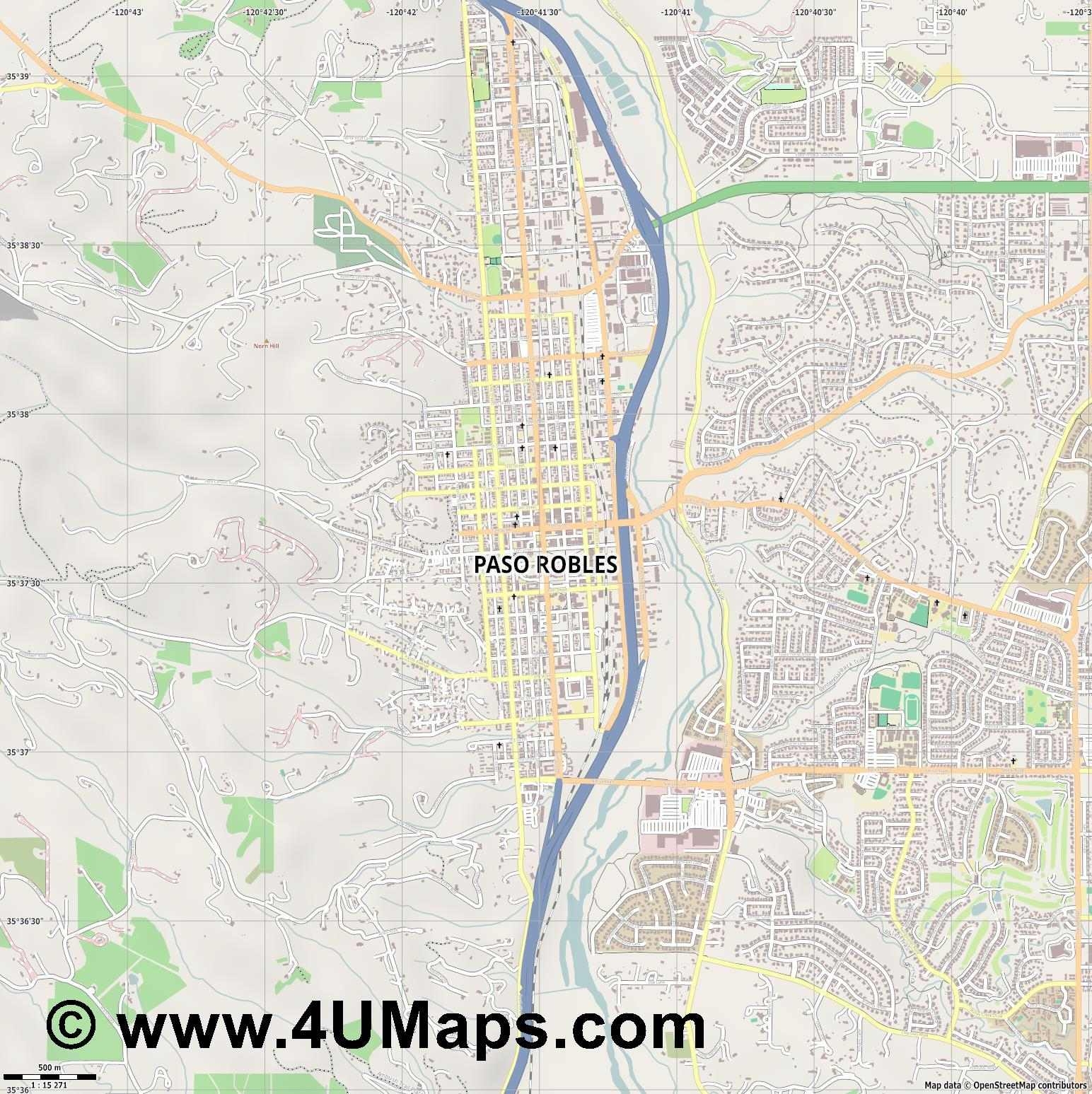 Paso Robles  jpg ultra high detail preview vector city map