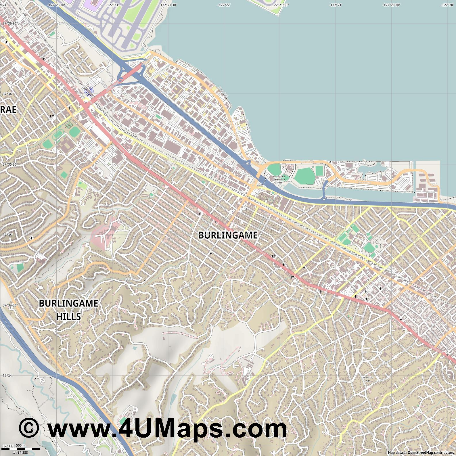 Burlingame  jpg ultra high detail preview vector city map