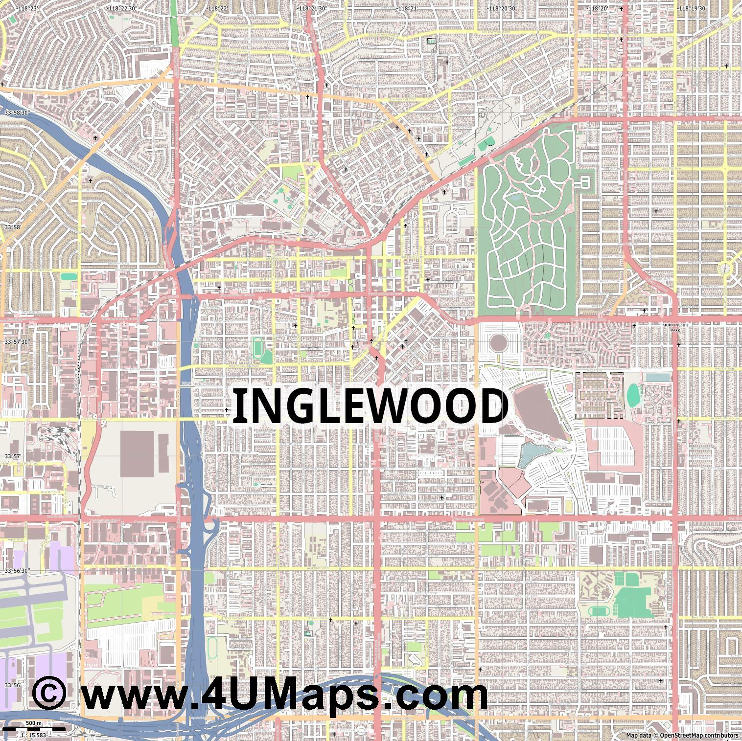 Inglewood  jpg ultra high detail preview vector city map