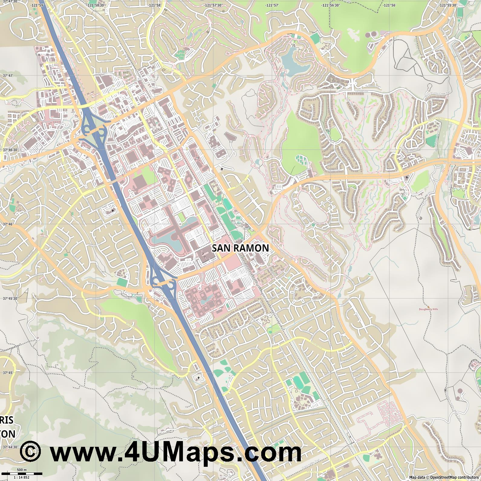 San Ramon  jpg ultra high detail preview vector city map