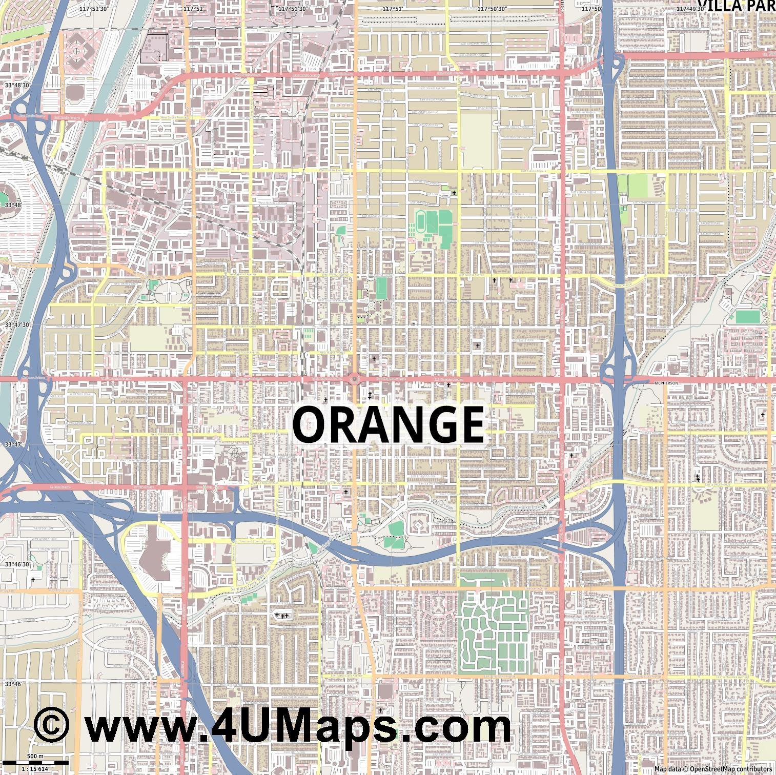 Orange  jpg ultra high detail preview vector city map