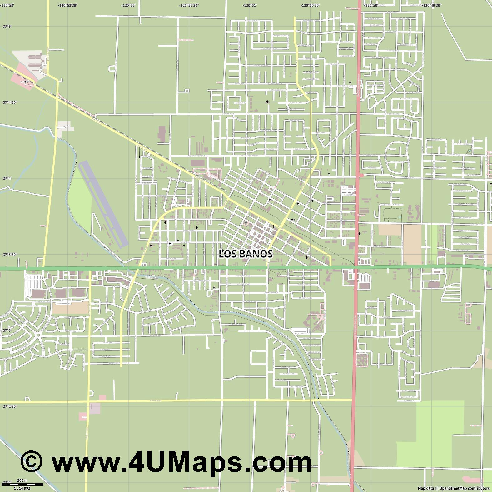 Los Banos  jpg ultra high detail preview vector city map