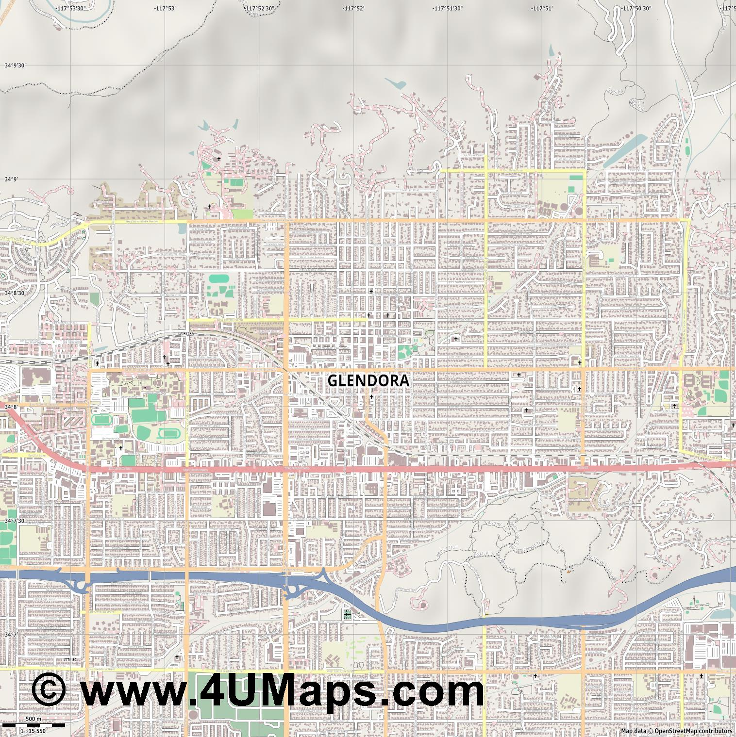Glendora  jpg ultra high detail preview vector city map