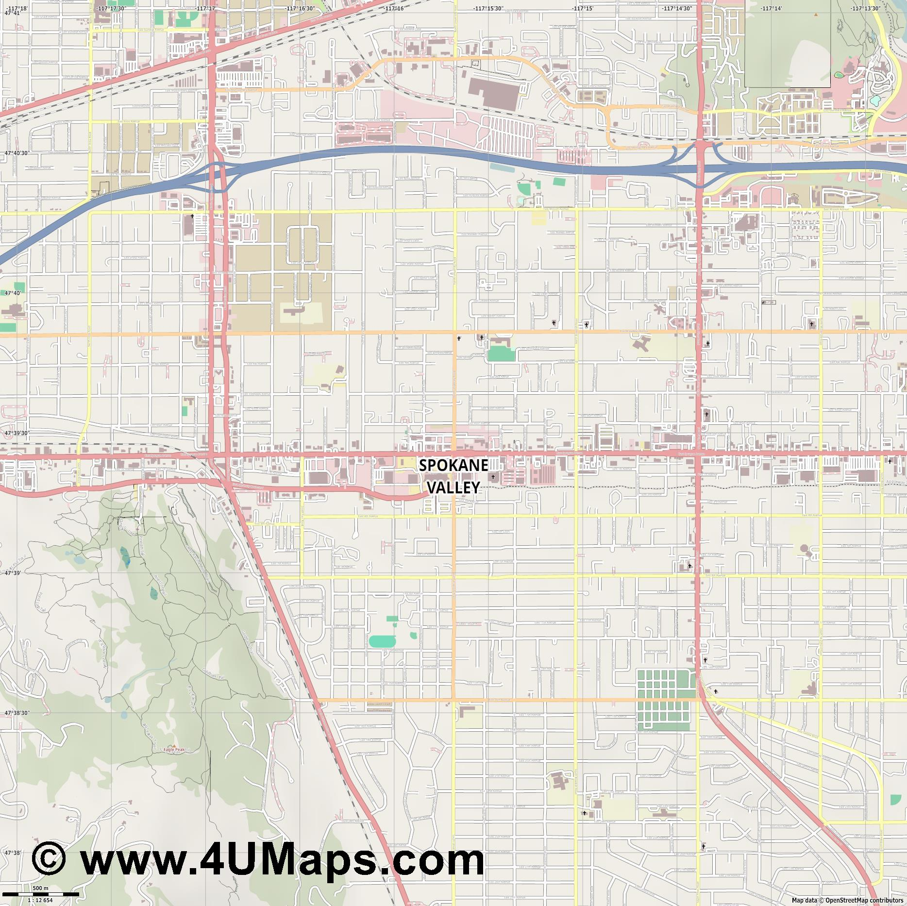Spokane Valley  jpg ultra high detail preview vector city map