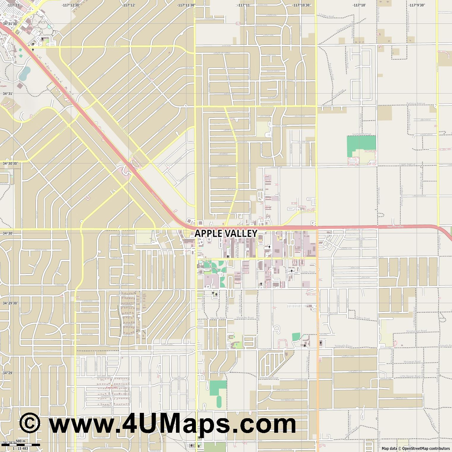 Apple Valley  jpg ultra high detail preview vector city map