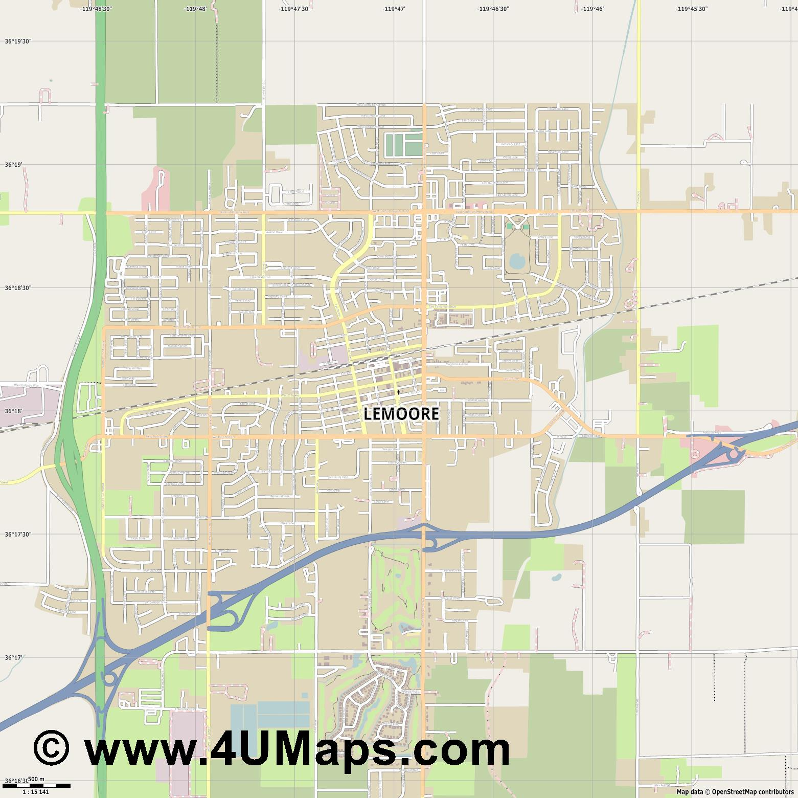 Lemoore  jpg ultra high detail preview vector city map