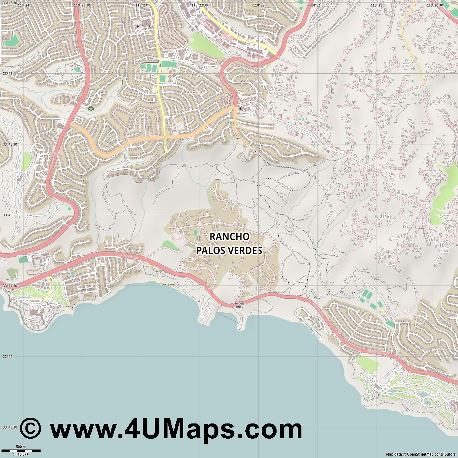 Rancho Palos Verdes  jpg ultra high detail preview vector city map