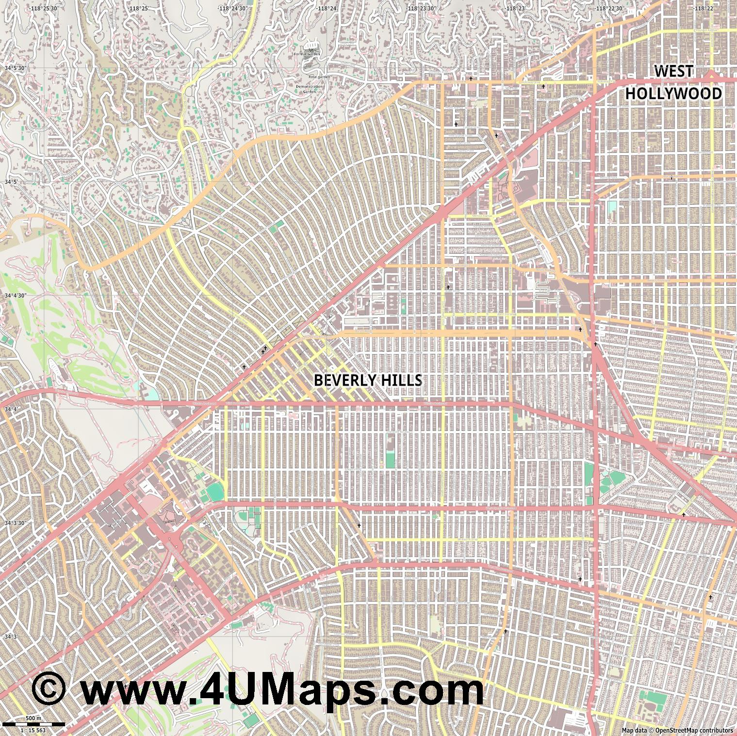 Beverly Hills  jpg ultra high detail preview vector city map