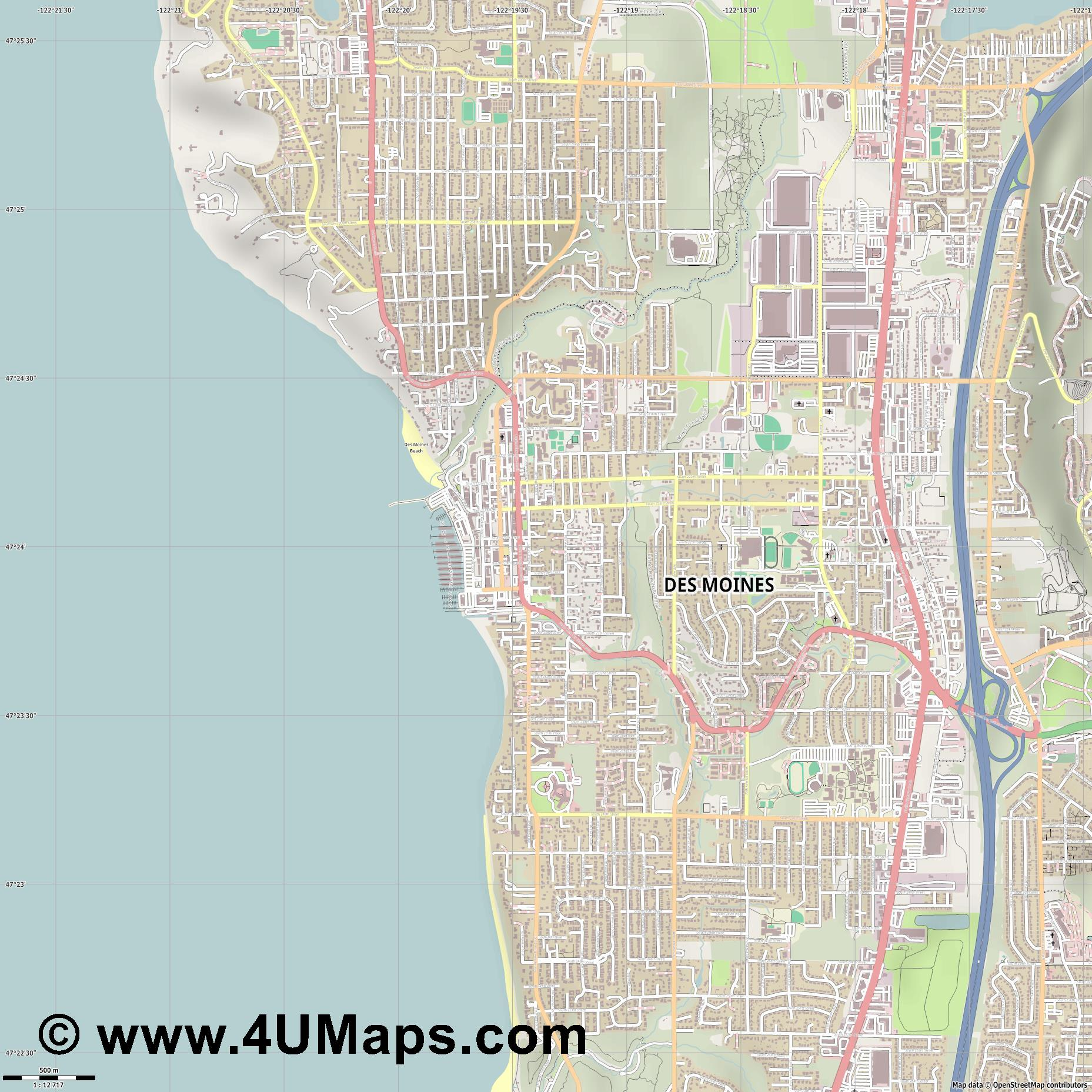 Des Moines  jpg ultra high detail preview vector city map