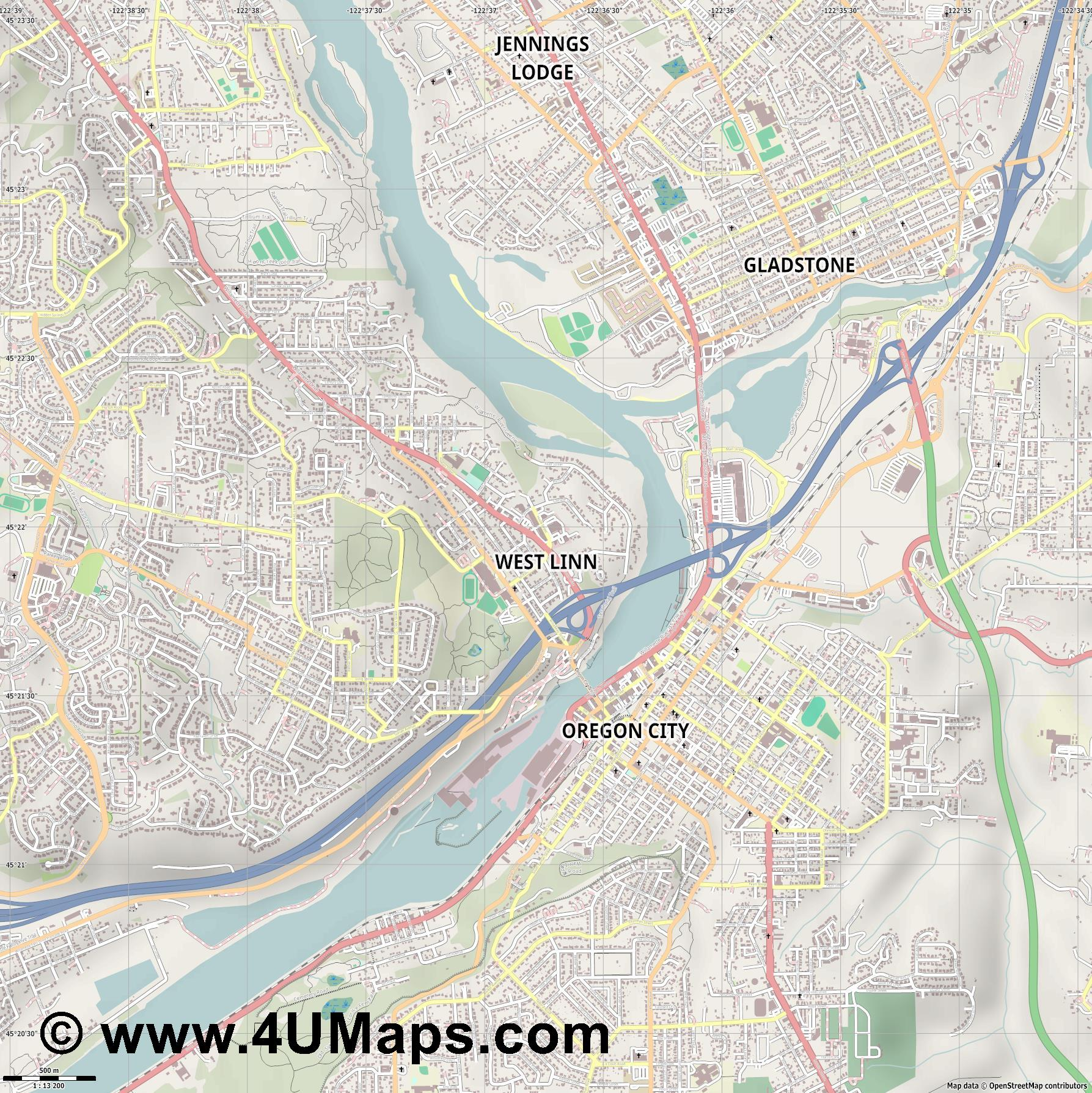 West Linn  jpg ultra high detail preview vector city map