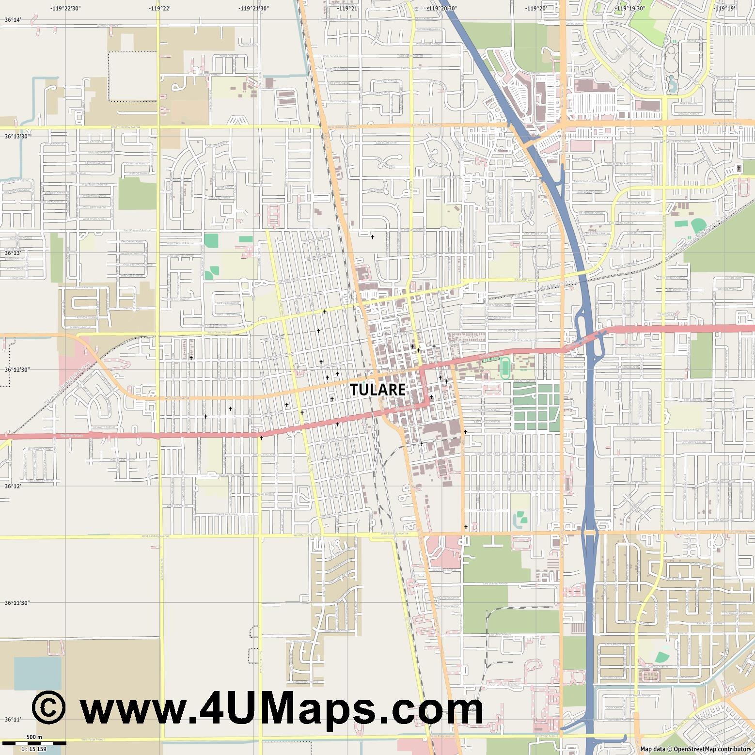 Tulare  jpg ultra high detail preview vector city map