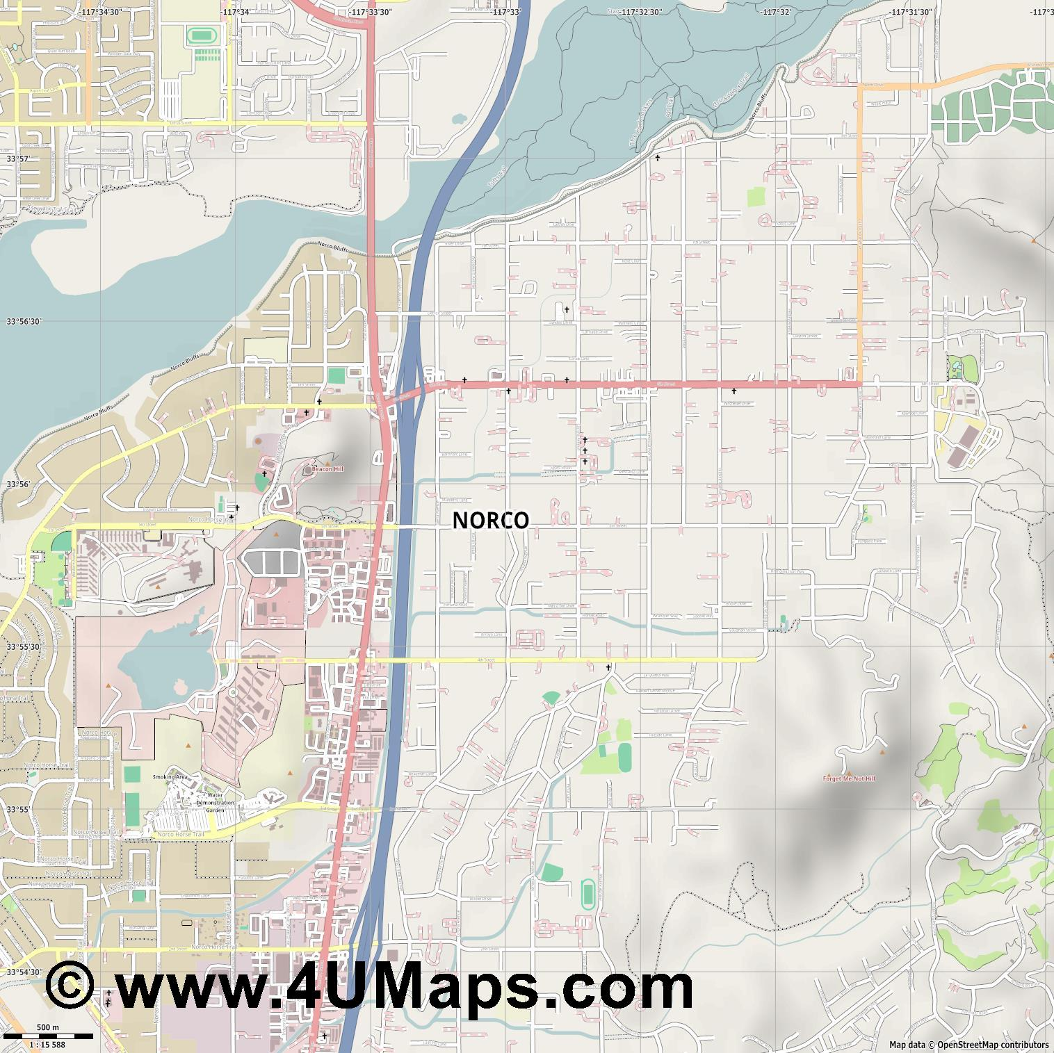 Norco  jpg ultra high detail preview vector city map