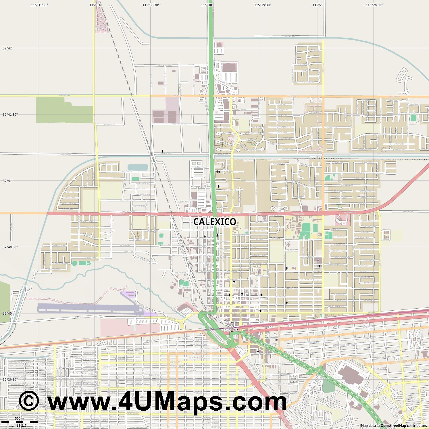 Calexico  jpg ultra high detail preview vector city map