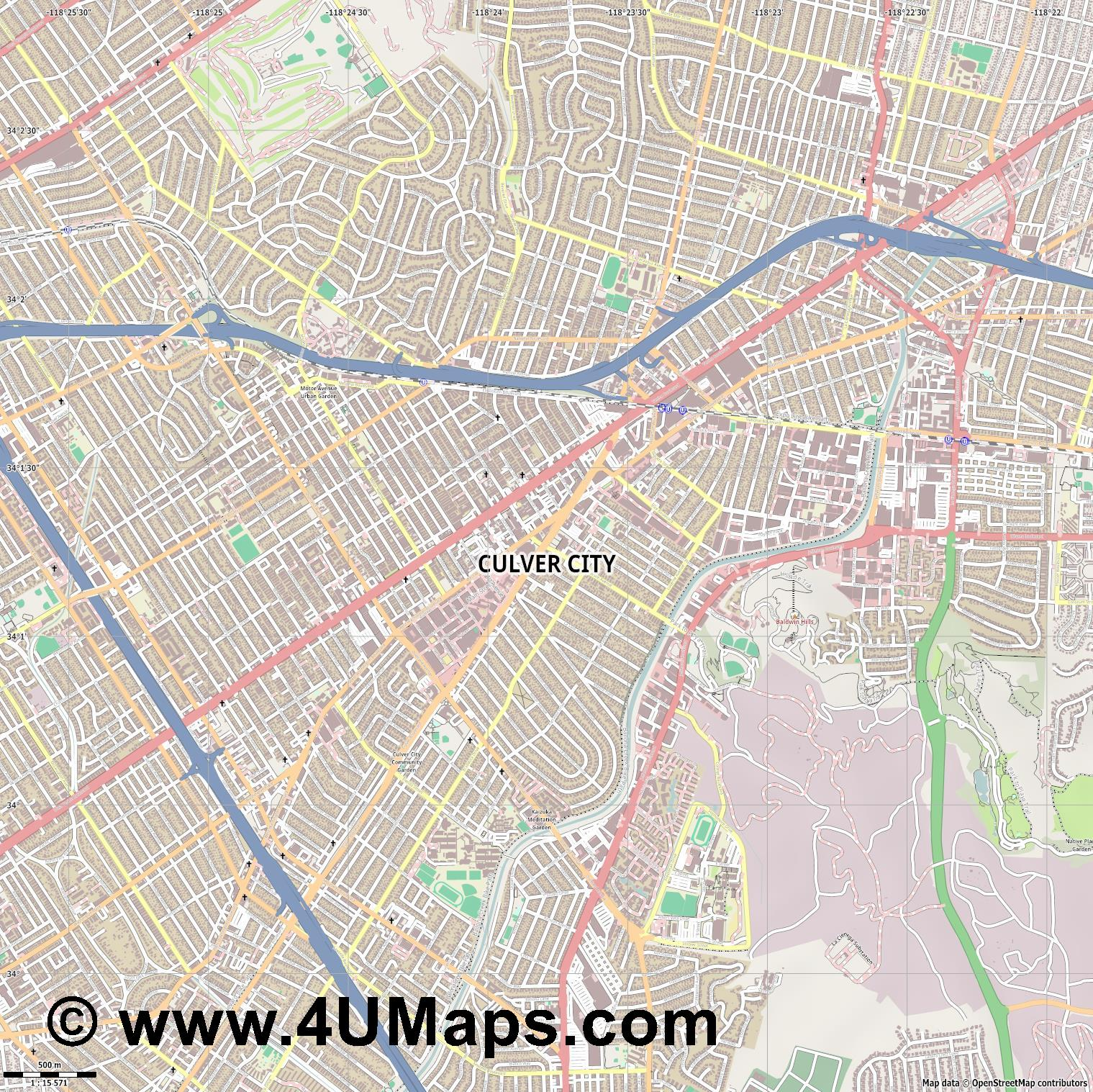 Culver City  jpg ultra high detail preview vector city map