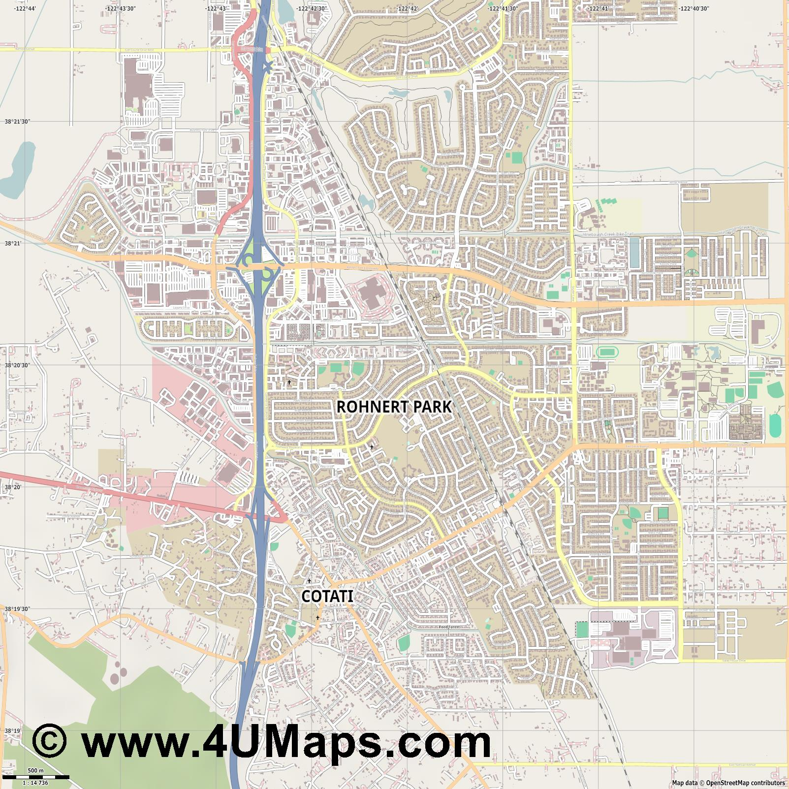 Rohnert Park  jpg ultra high detail preview vector city map