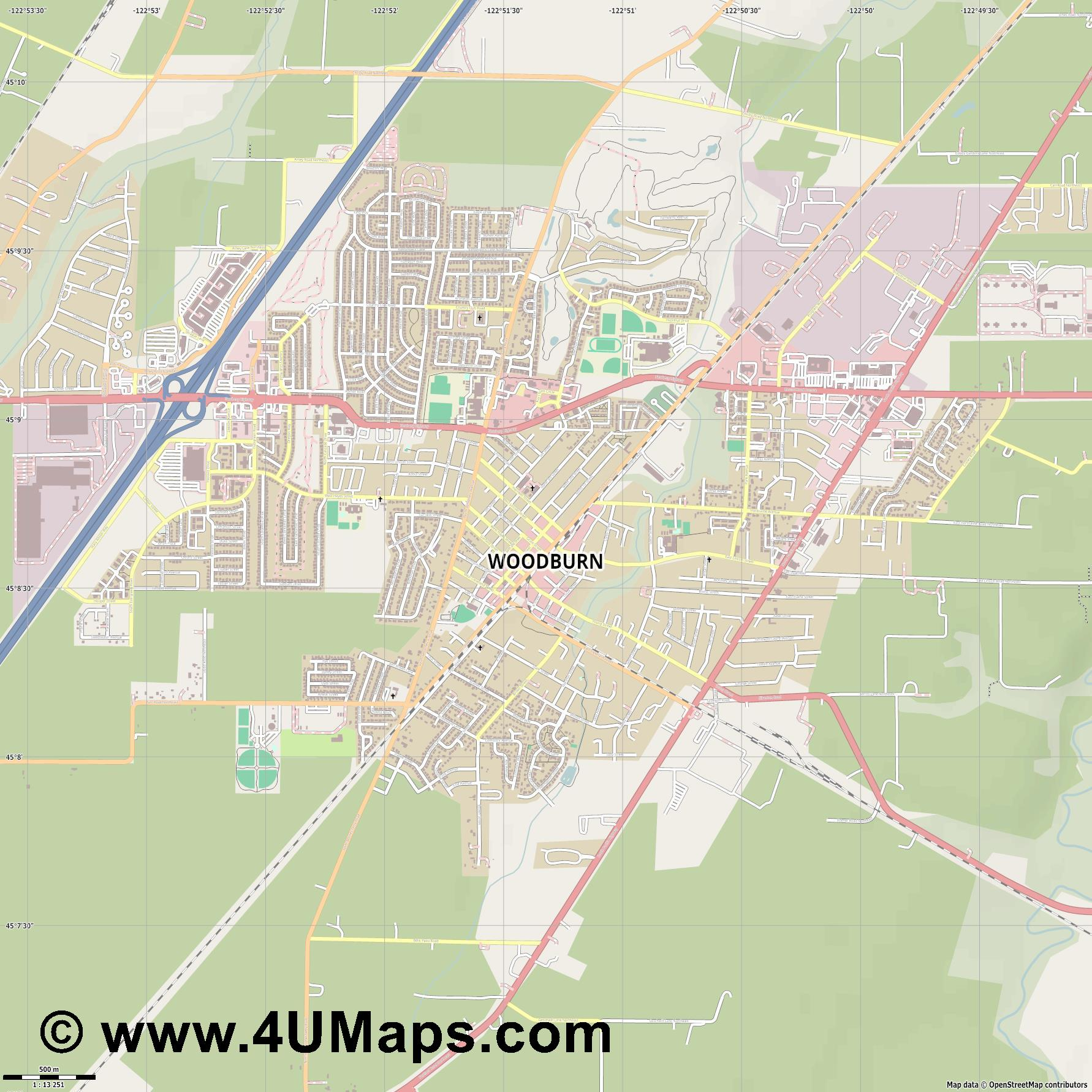 Woodburn  jpg ultra high detail preview vector city map