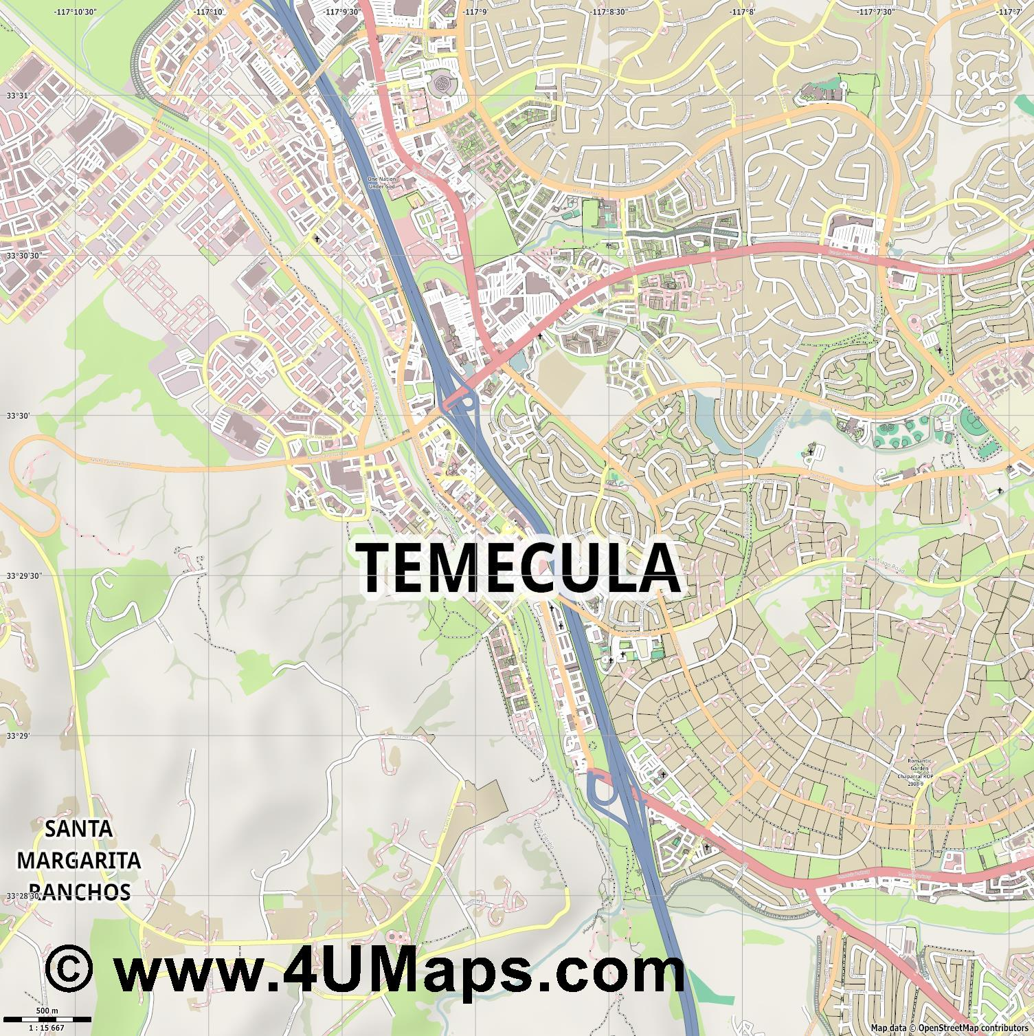 Temecula  jpg ultra high detail preview vector city map
