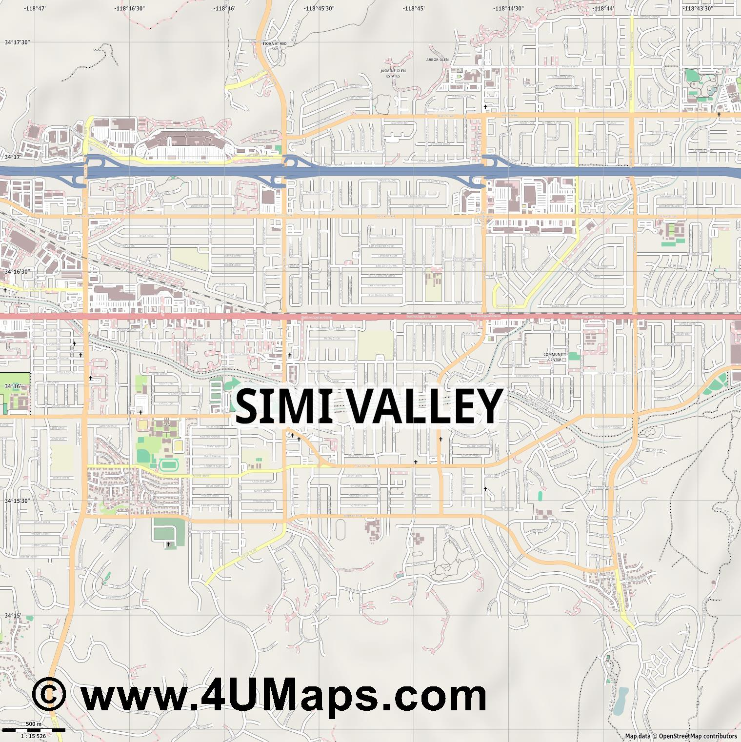 Simi Valley  jpg ultra high detail preview vector city map