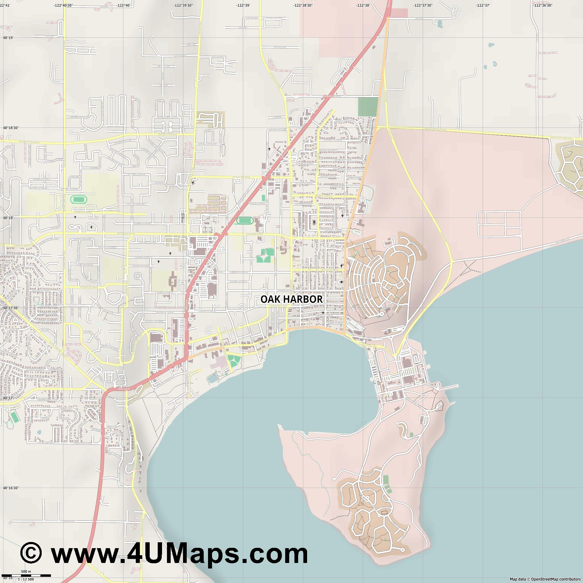 Oak Harbor  jpg ultra high detail preview vector city map
