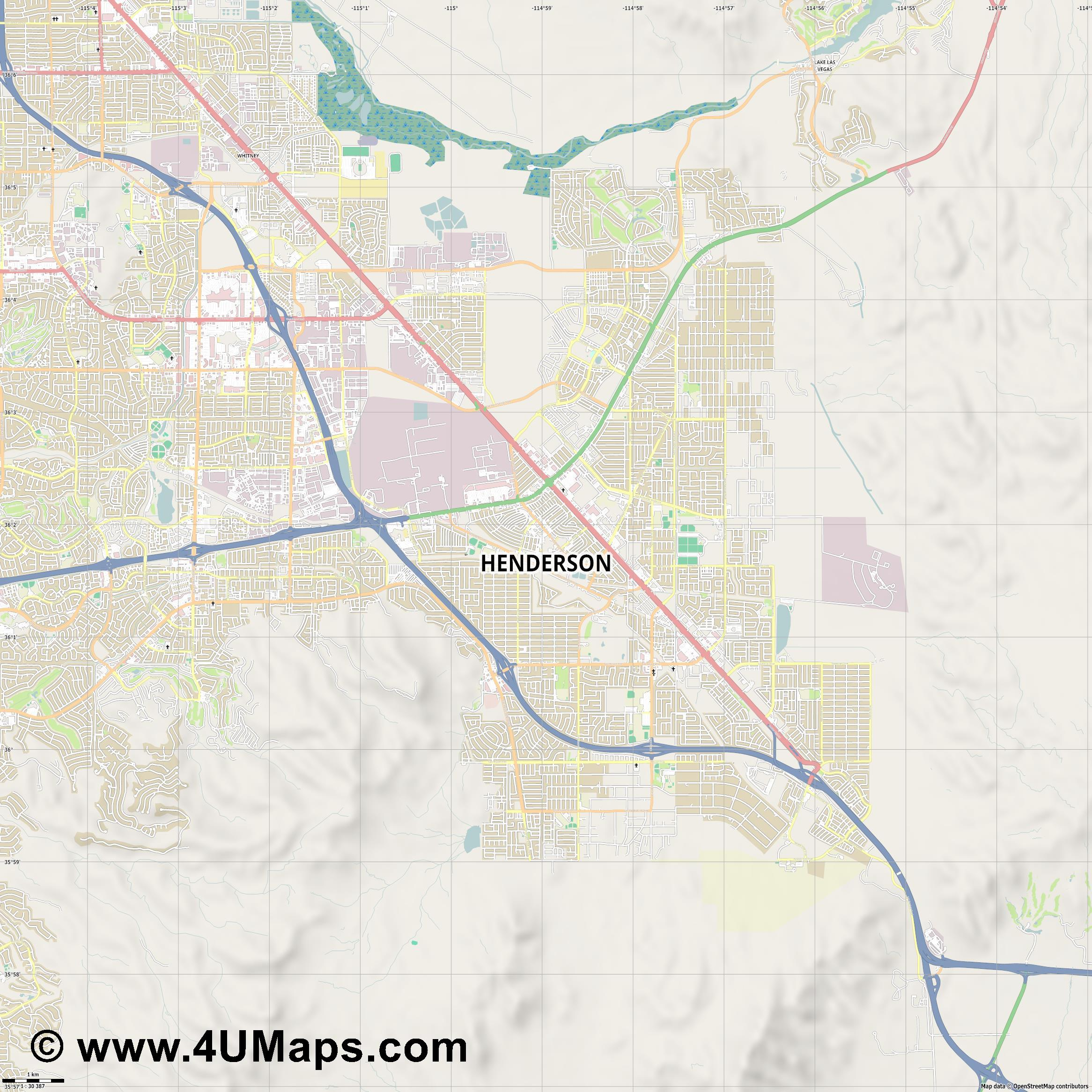 Henderson  jpg high detail, large area preview vector city map