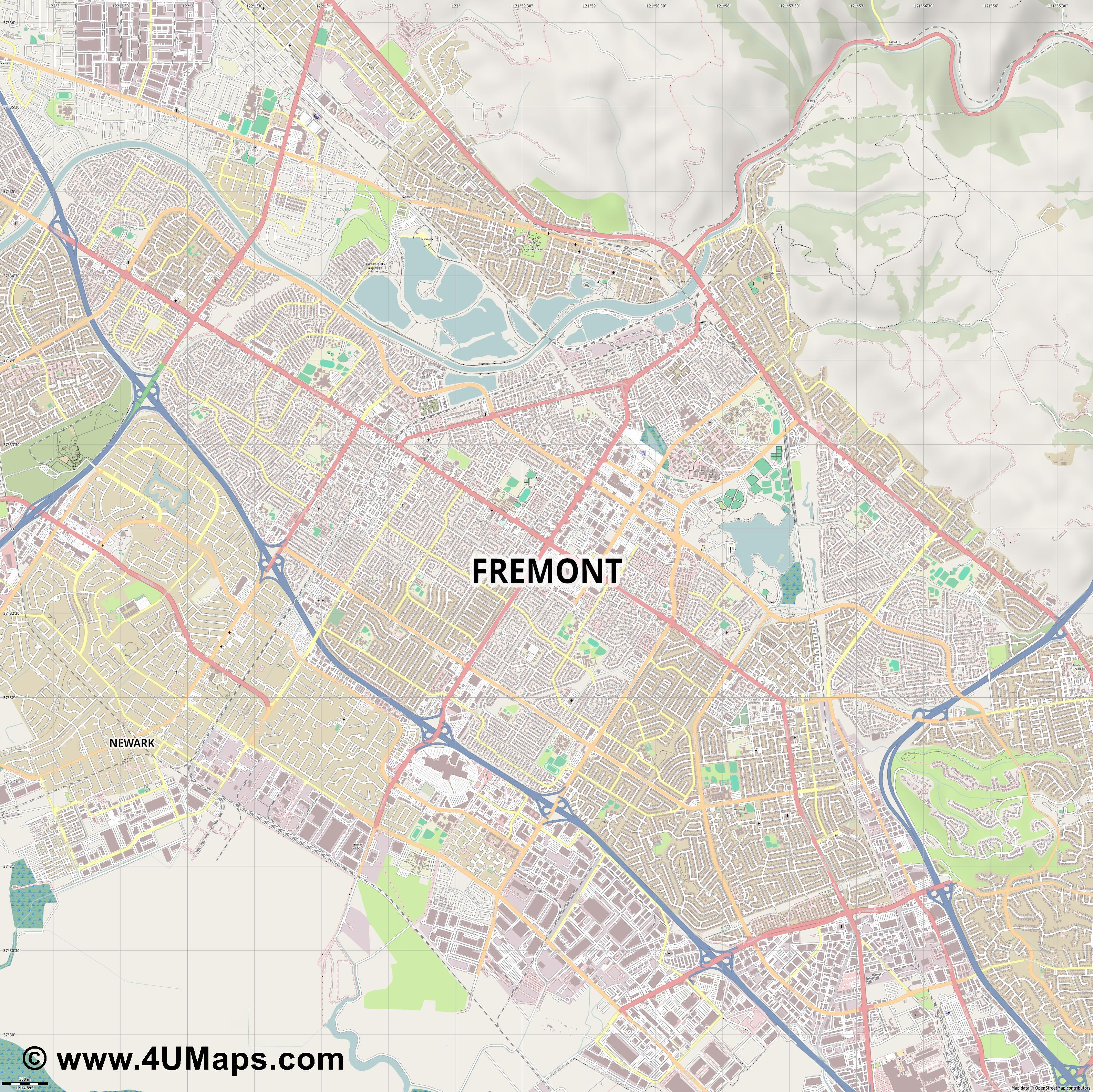 Fremont  jpg ultra high detail preview vector city map