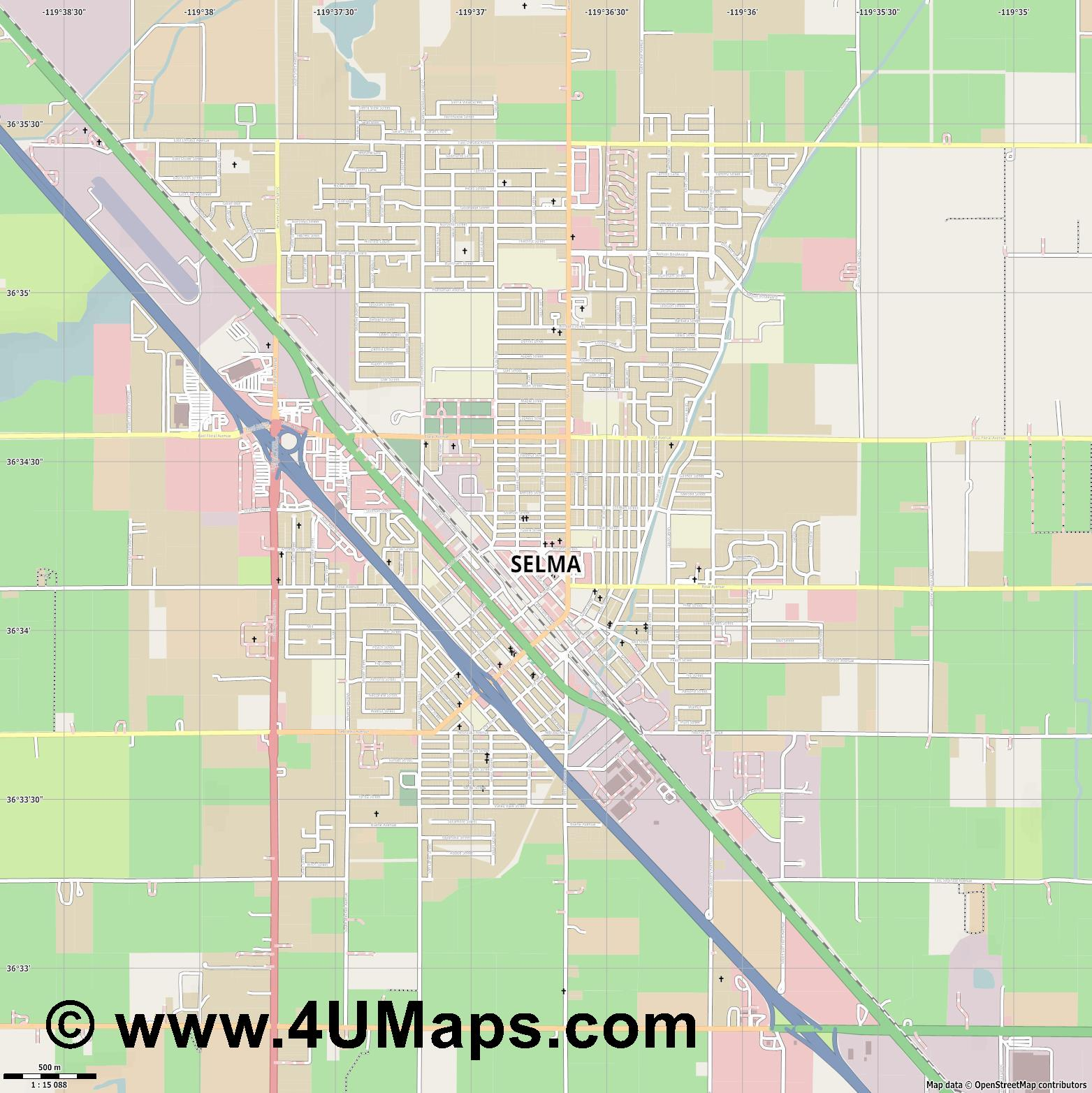 Selma  jpg ultra high detail preview vector city map