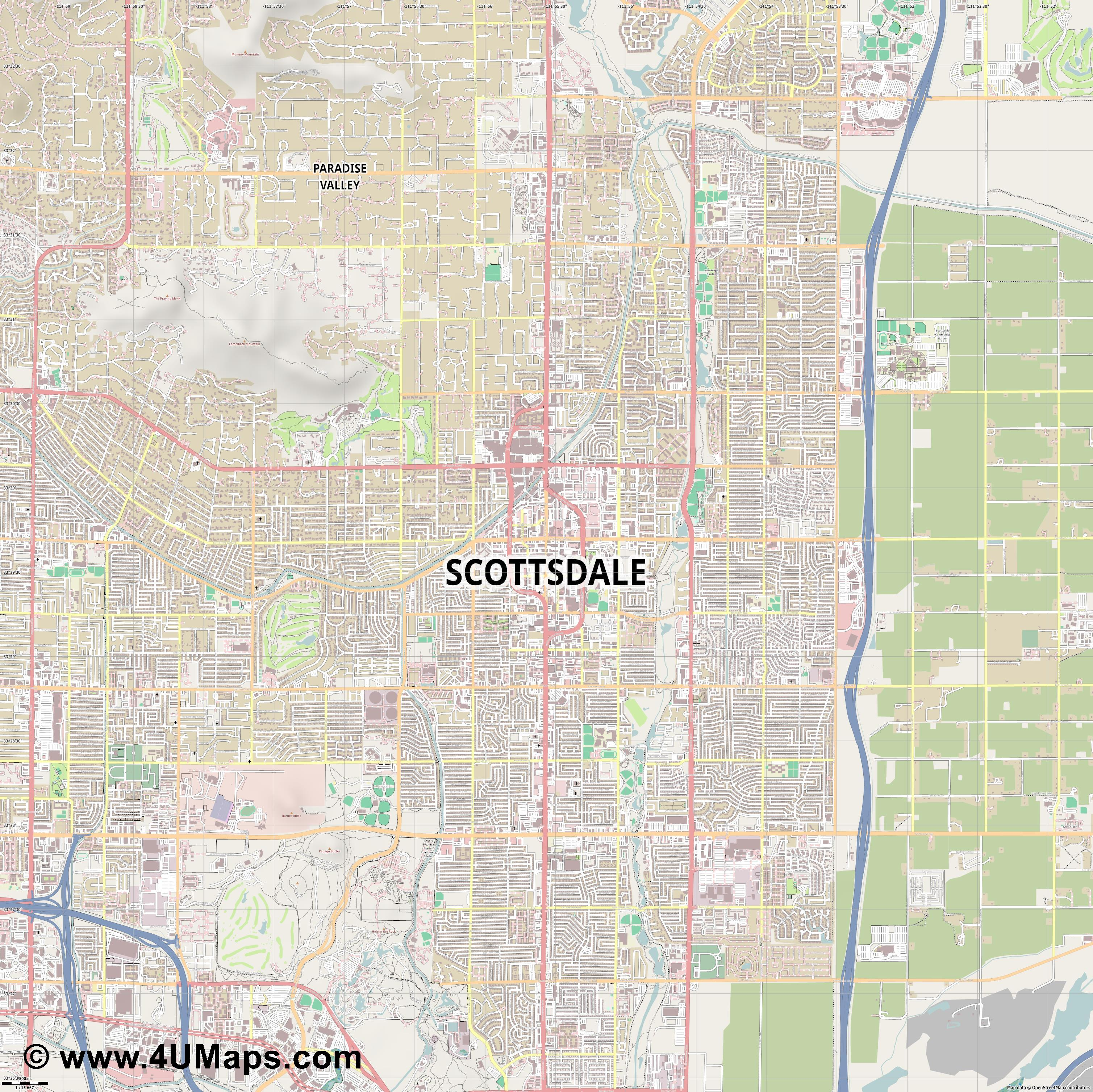 Scottsdale  jpg ultra high detail preview vector city map