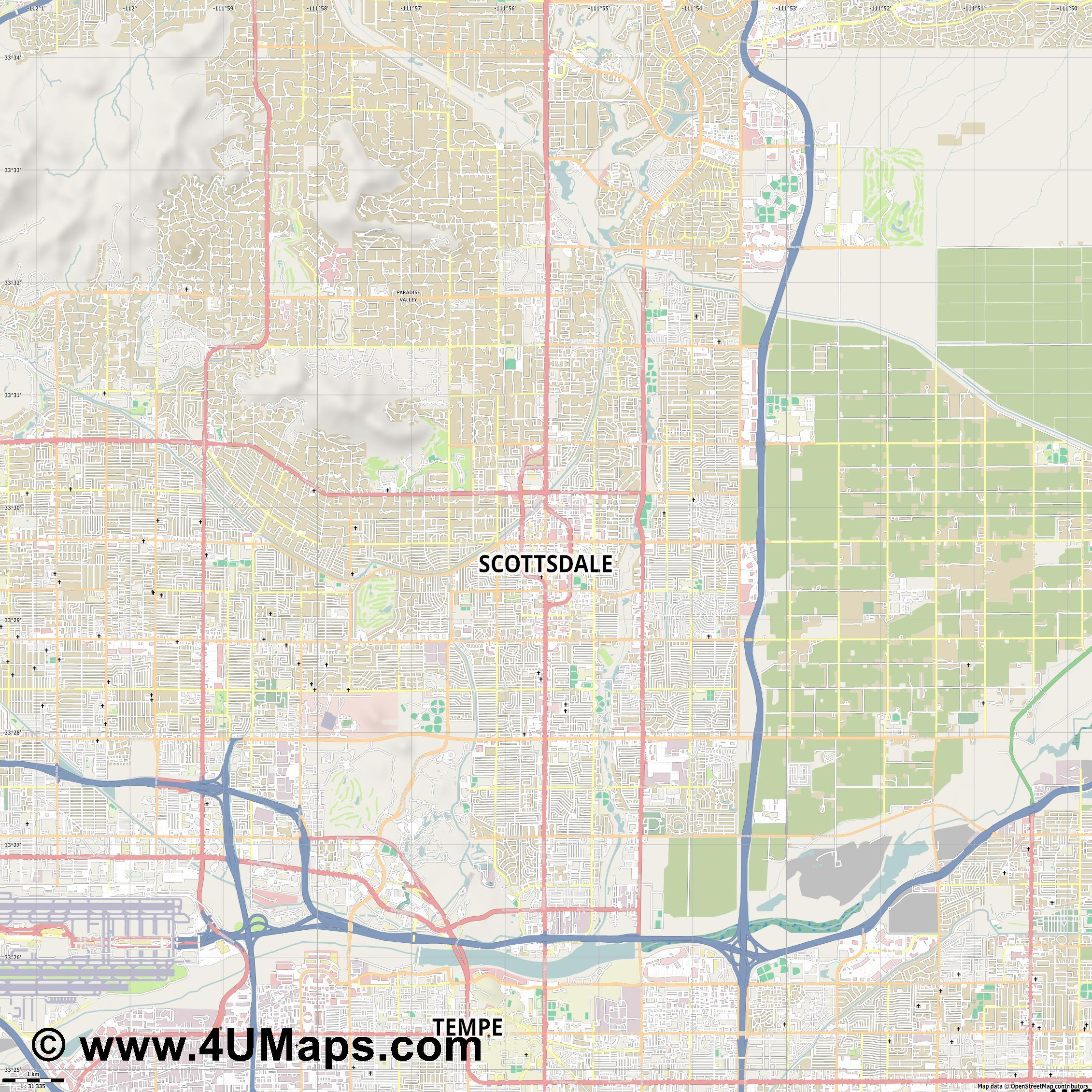 Scottsdale  jpg high detail, large area preview vector city map