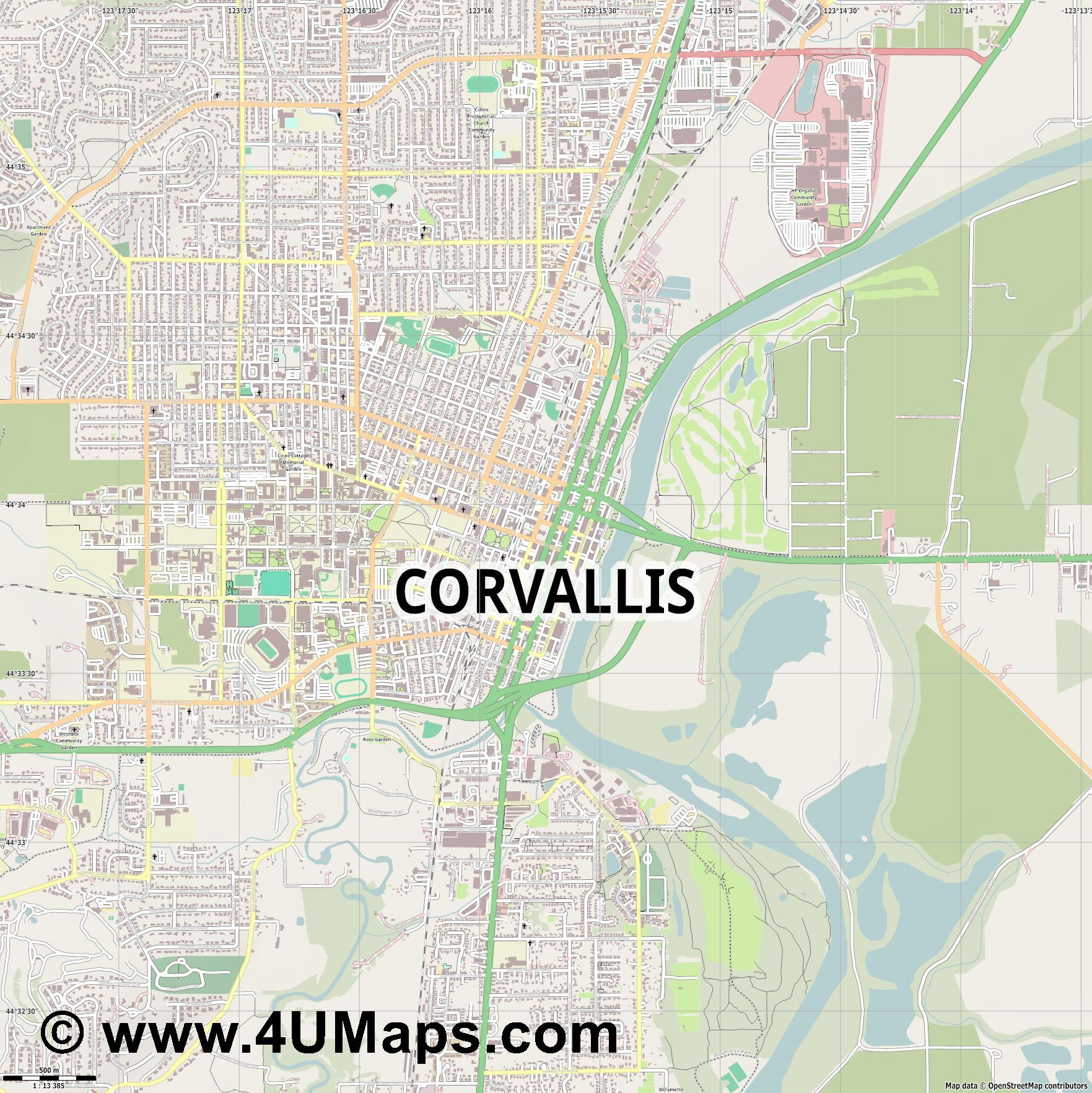Corvallis  jpg ultra high detail preview vector city map