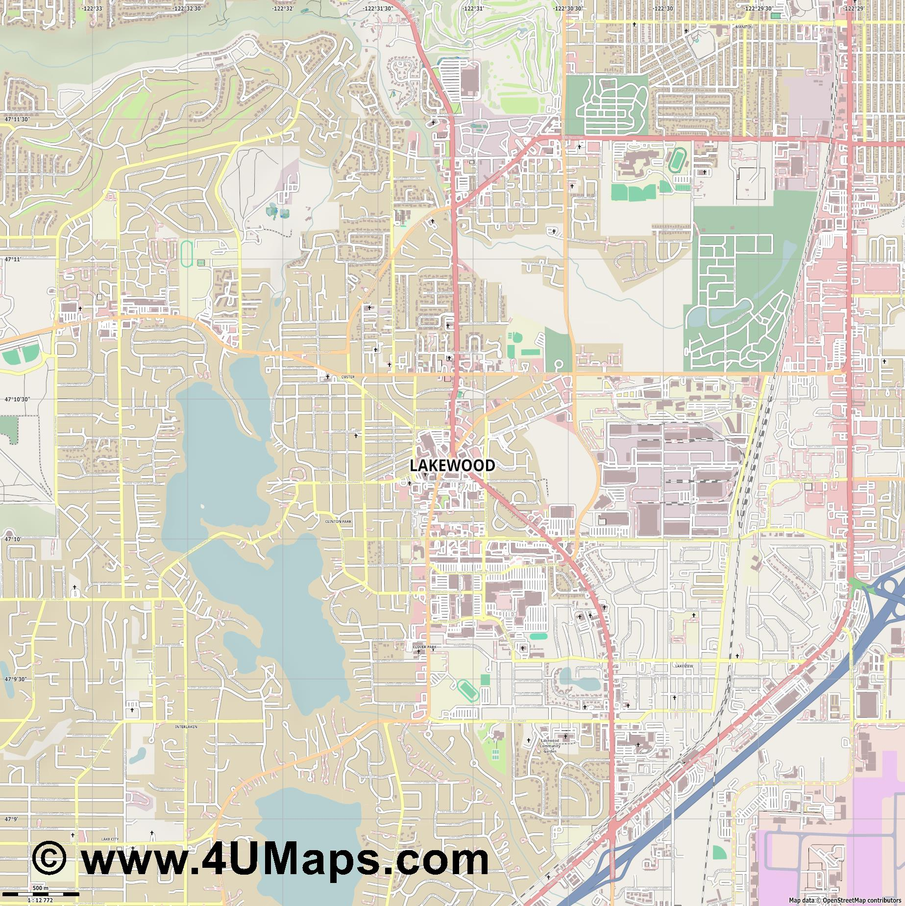 Lakewood  jpg ultra high detail preview vector city map