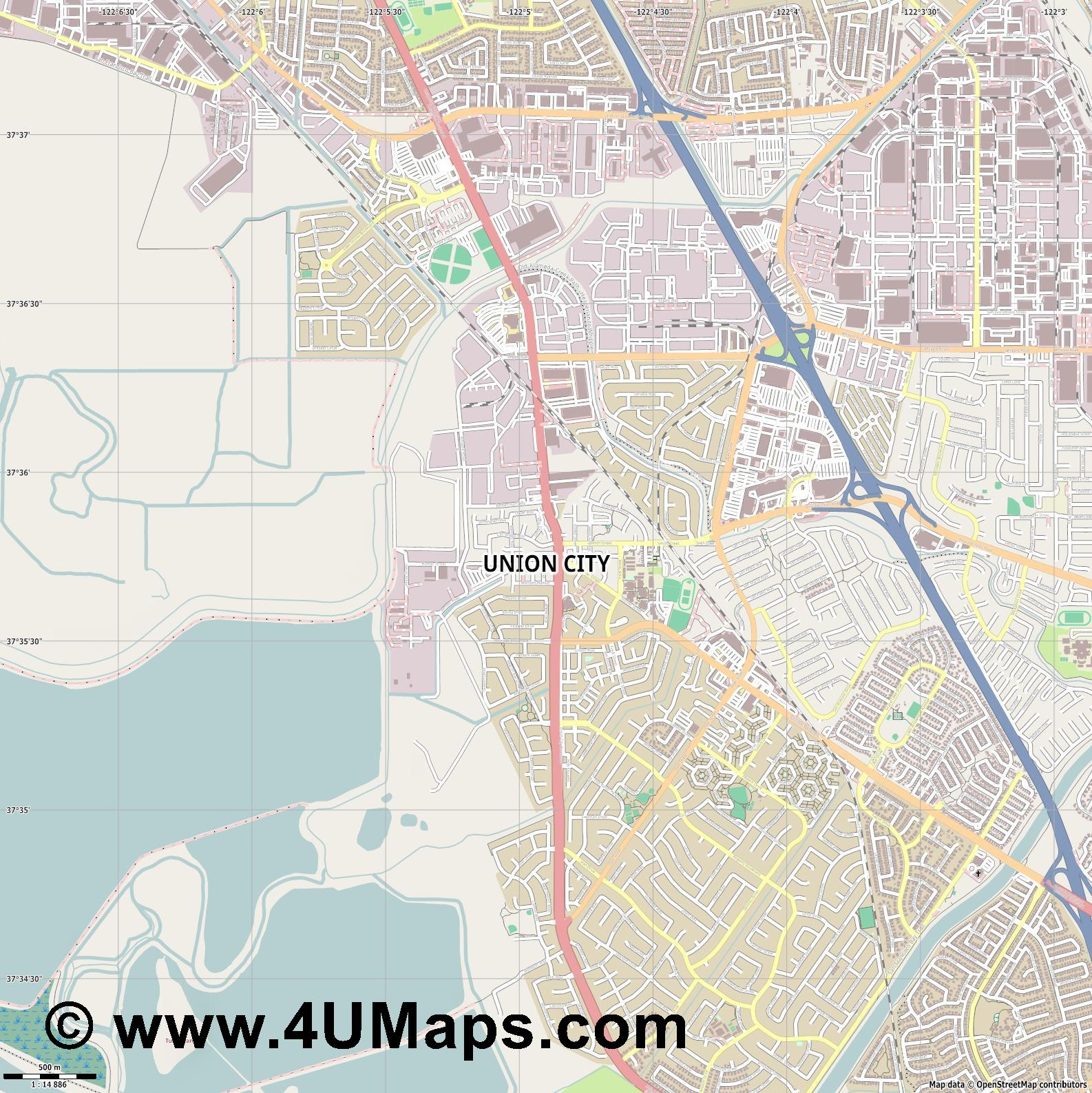 Union City  jpg ultra high detail preview vector city map
