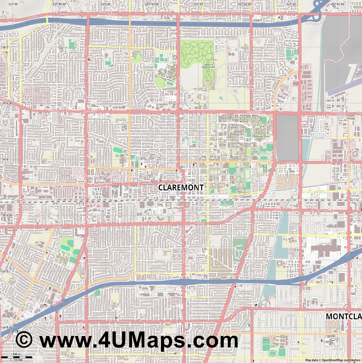 Claremont  jpg ultra high detail preview vector city map