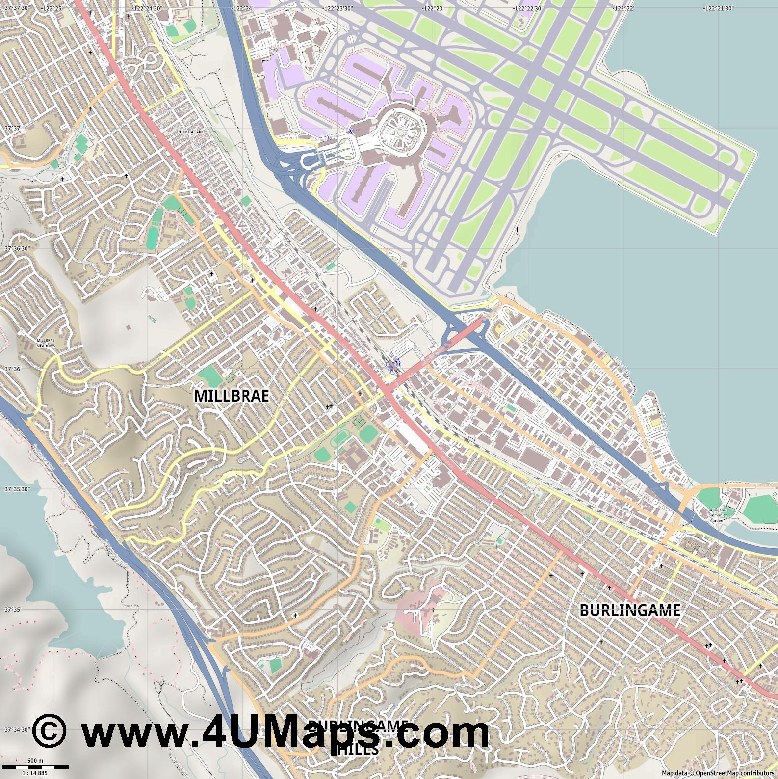 Millbrae  jpg ultra high detail preview vector city map