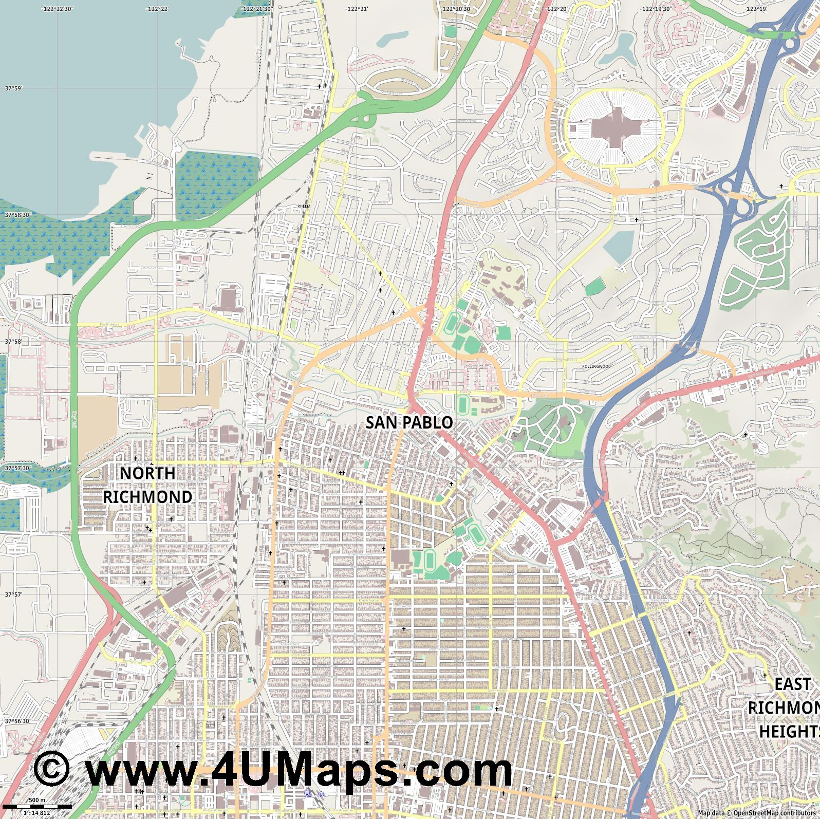 San Pablo  jpg ultra high detail preview vector city map