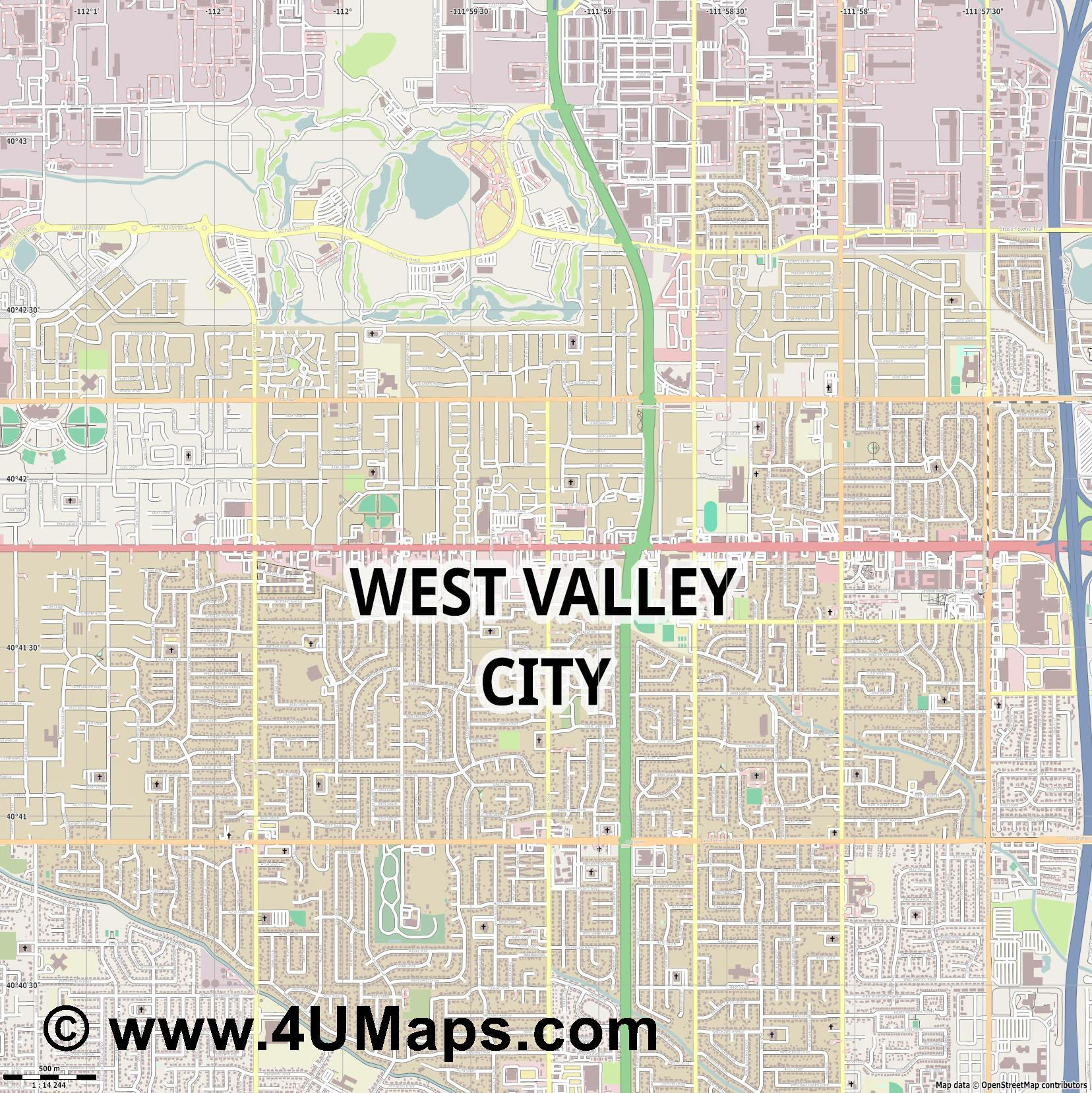 West Valley City  jpg ultra high detail preview vector city map