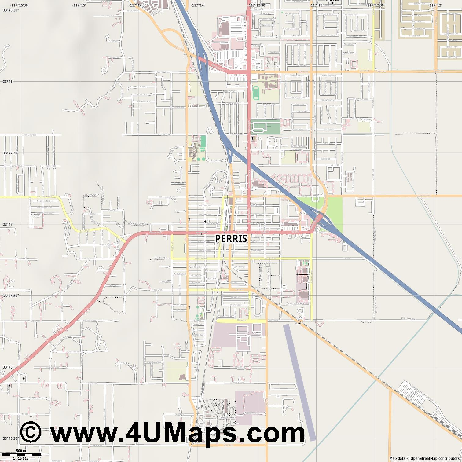 Perris  jpg ultra high detail preview vector city map