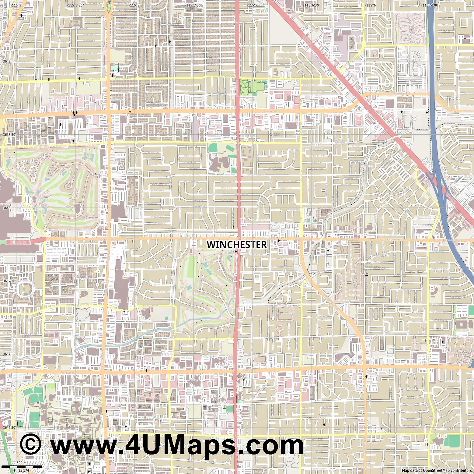 Winchester  jpg ultra high detail preview vector city map