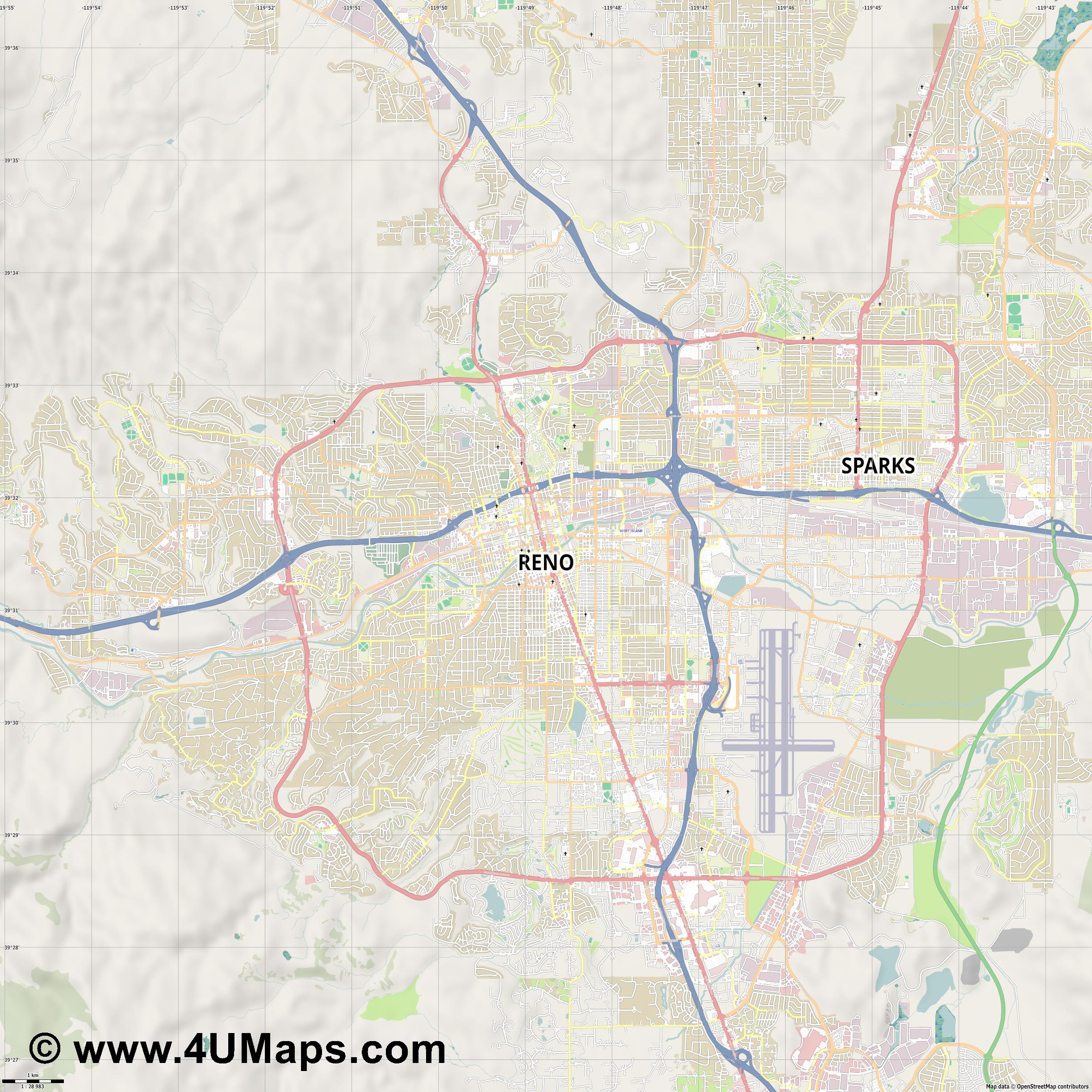 Reno  jpg high detail, large area preview vector city map