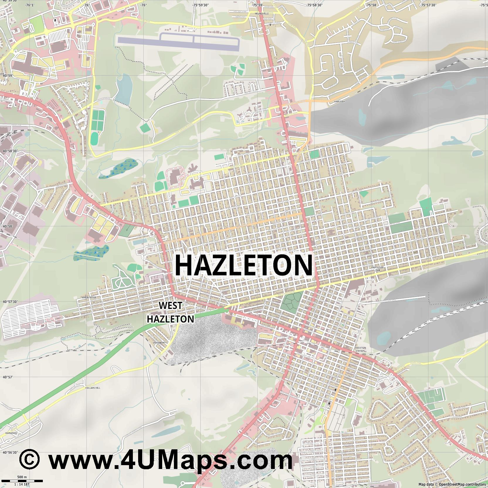 Hazleton  jpg ultra high detail preview vector city map