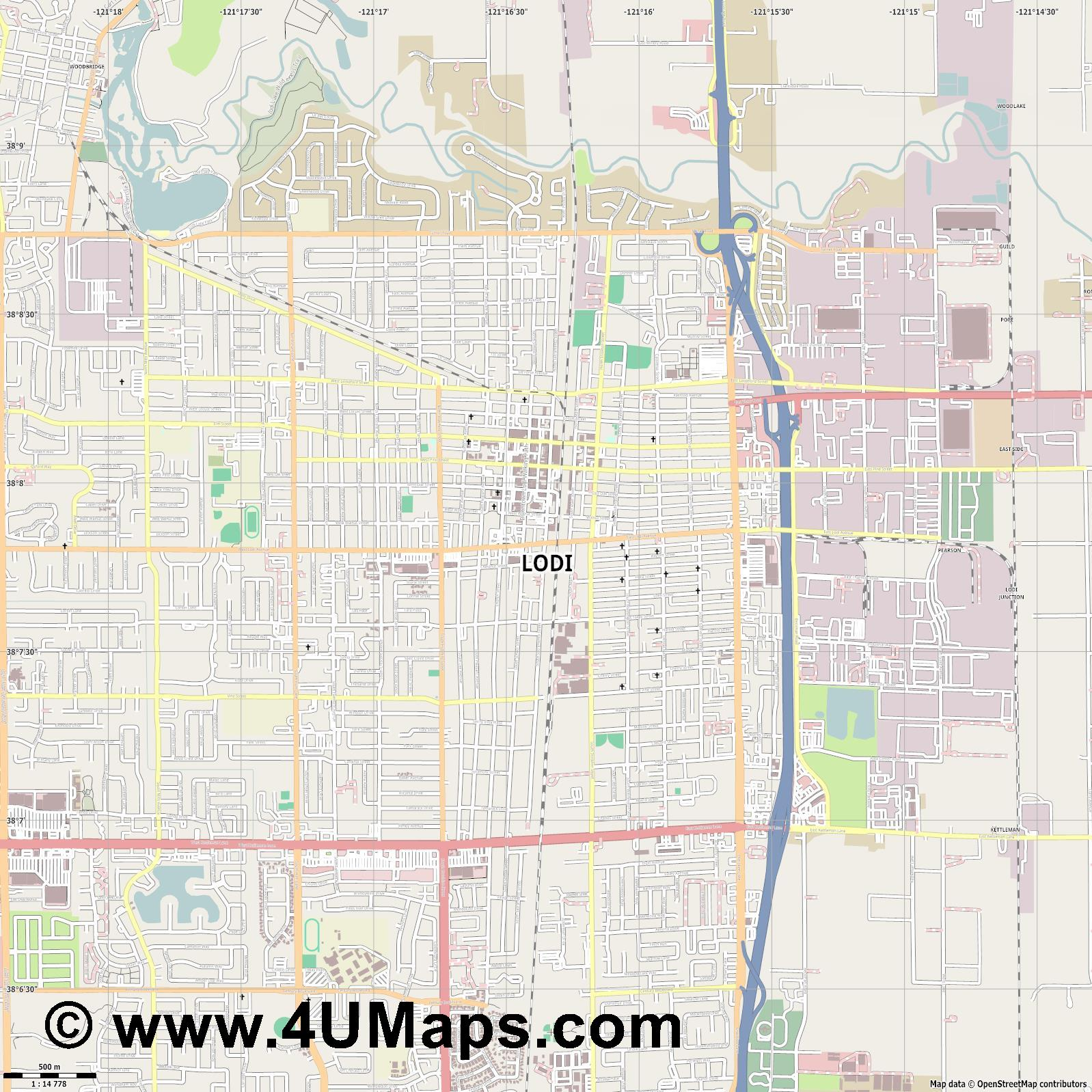 Lodi  jpg ultra high detail preview vector city map