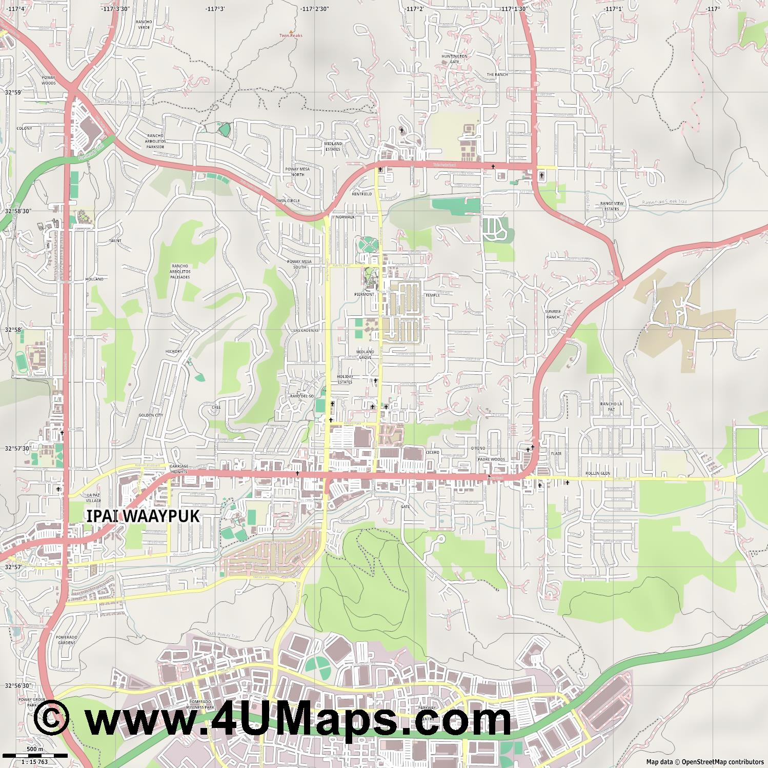 Poway  jpg ultra high detail preview vector city map