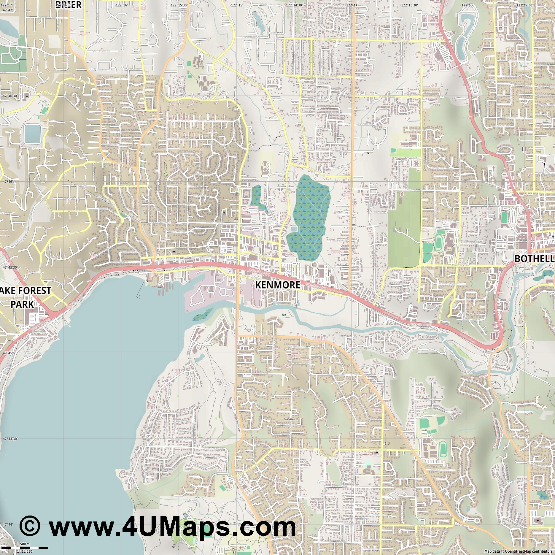 Kenmore  jpg ultra high detail preview vector city map