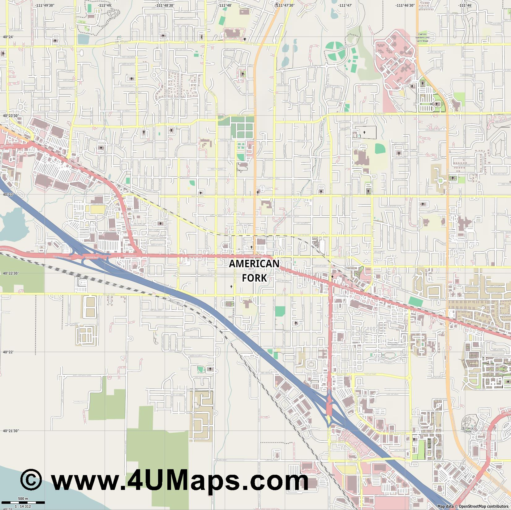 American Fork  jpg ultra high detail preview vector city map