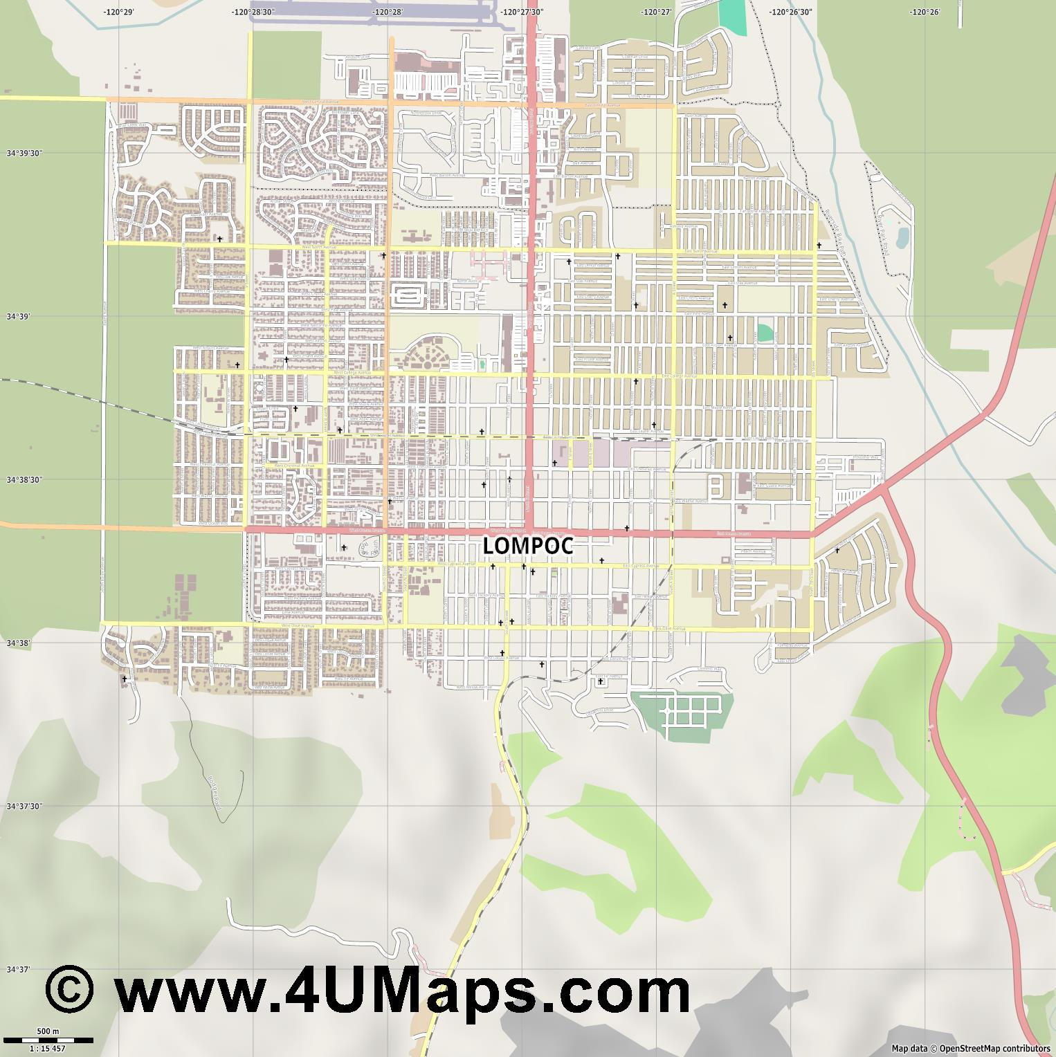 Lompoc  jpg ultra high detail preview vector city map