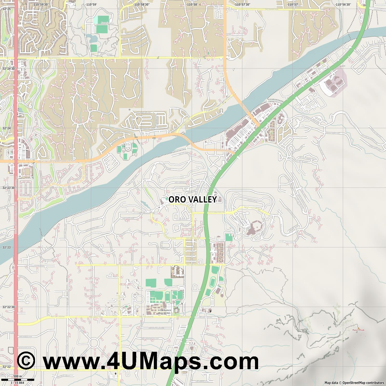 Oro Valley  jpg ultra high detail preview vector city map